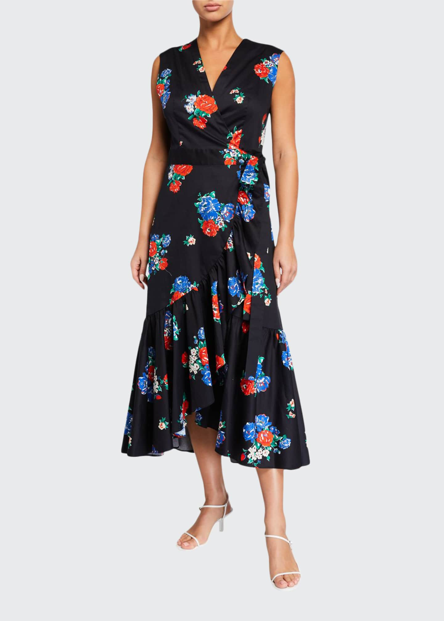 Image 1 of 2: Floral-Print Sleeveless Flounce Wrap Dress