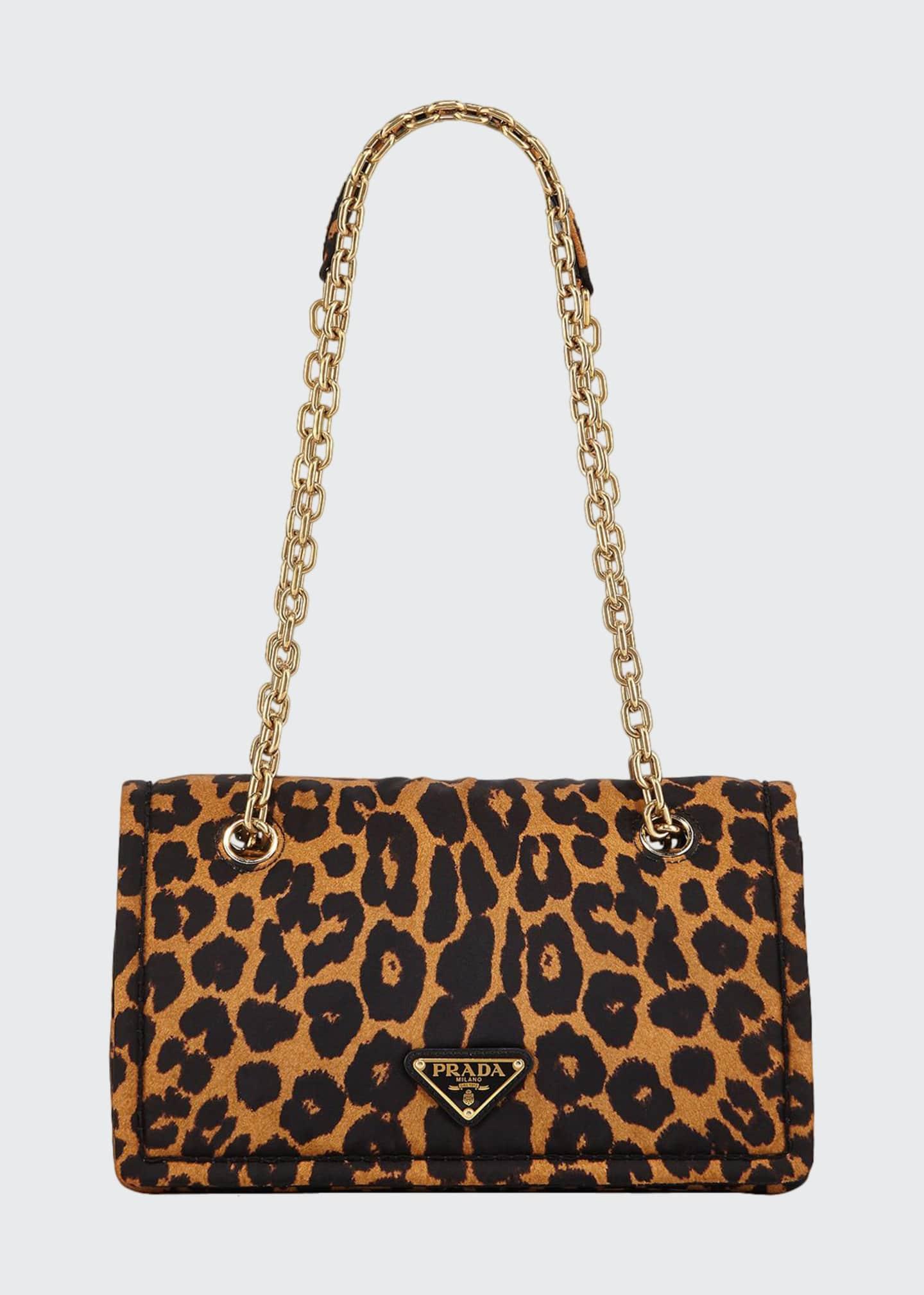 Prada Leopard-Print Nylon Shoulder Bag