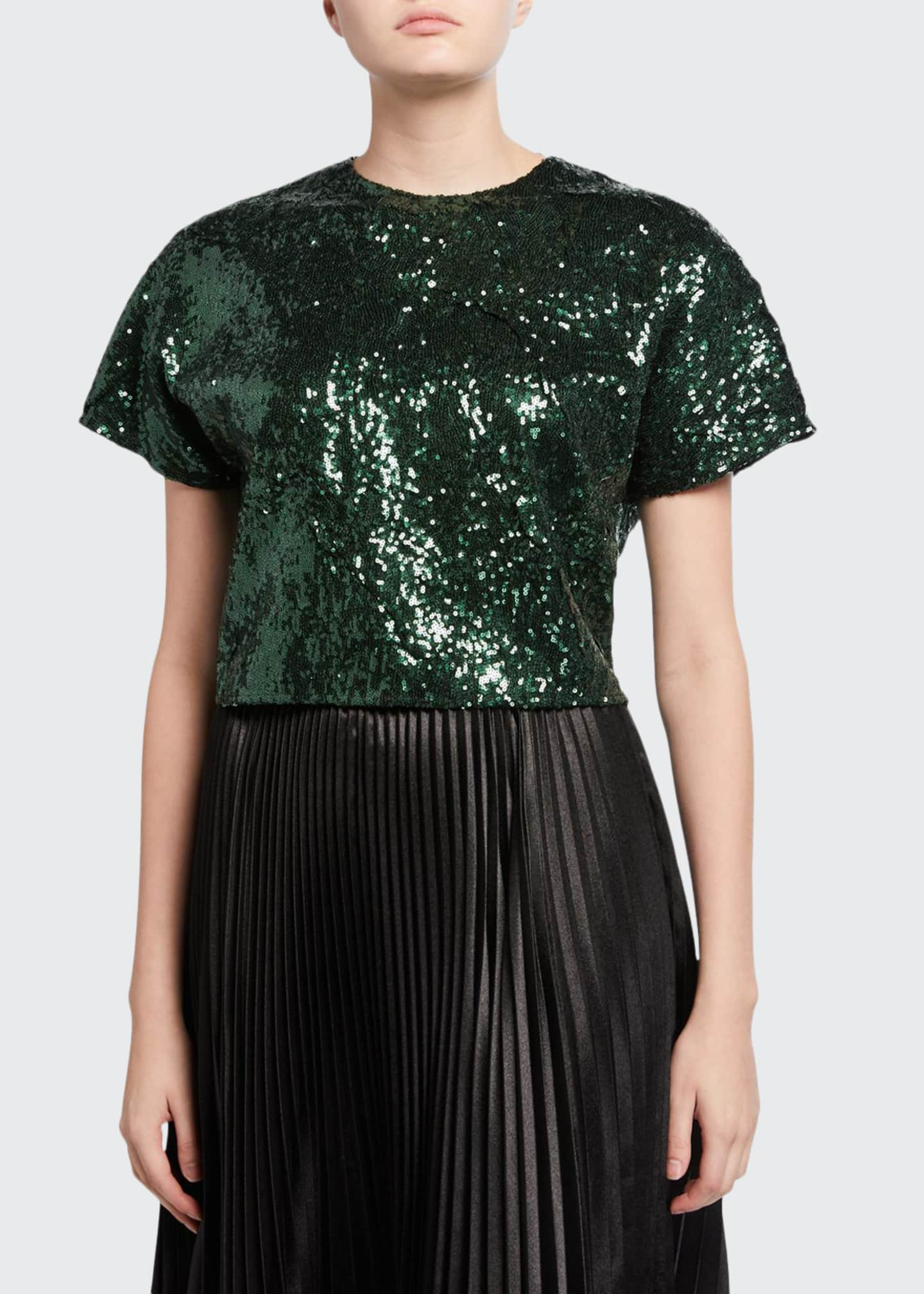 Image 1 of 2: Sequined Cropped Short-Sleeve Top