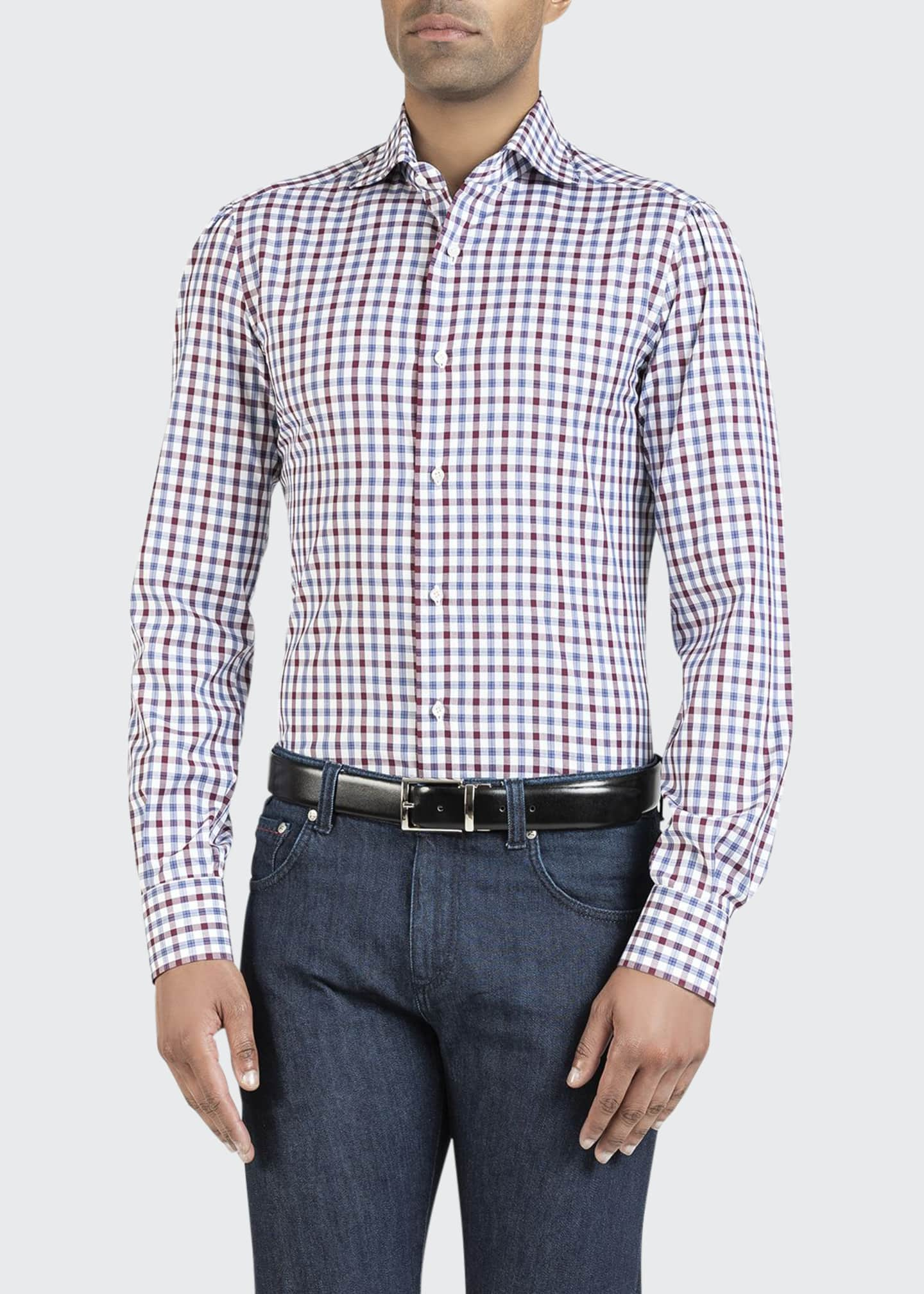 Image 1 of 2: Men's Two-Tone Check Sport Shirt