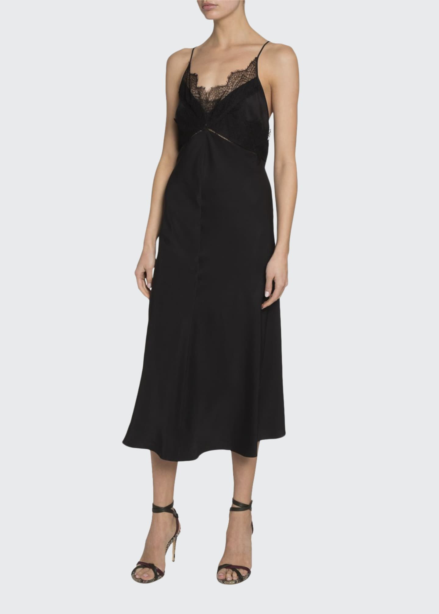 Image 1 of 2: Lace-Trim V-Neck Midi Dress
