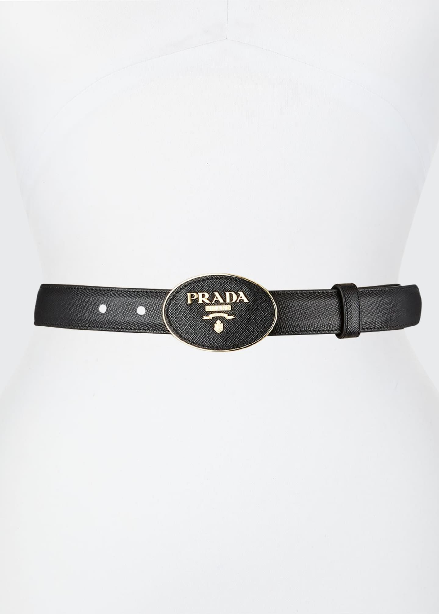 Image 1 of 1: Oval Logo-Buckle Leather Belt