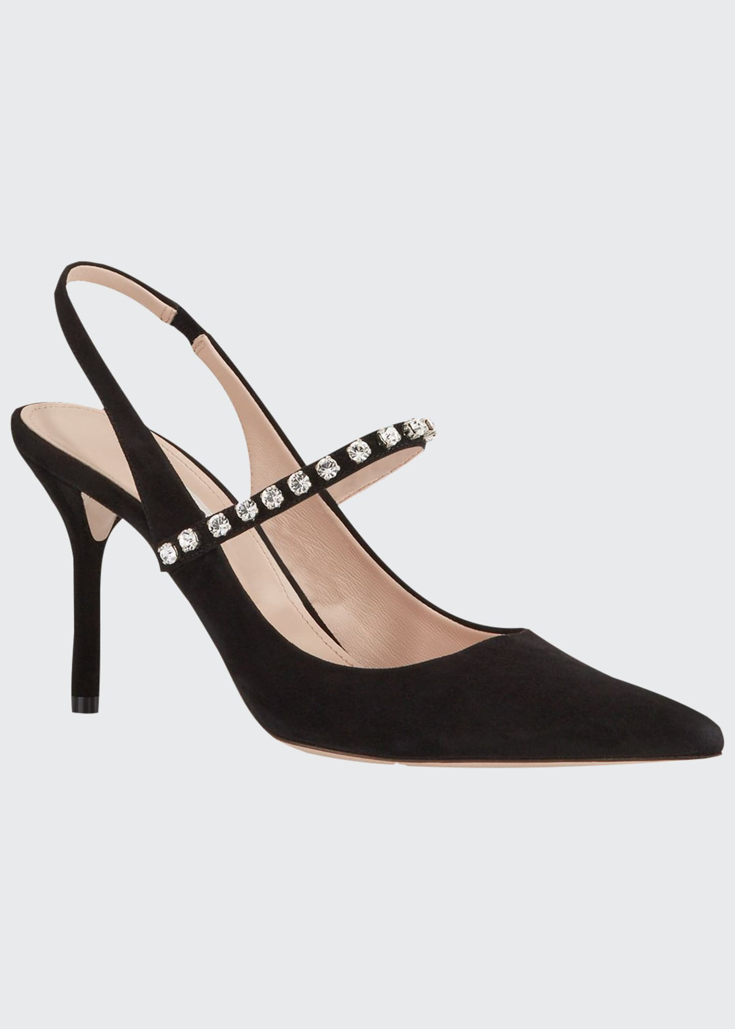 Miu Miu Crystal-Strap Pointed-Toe Pumps