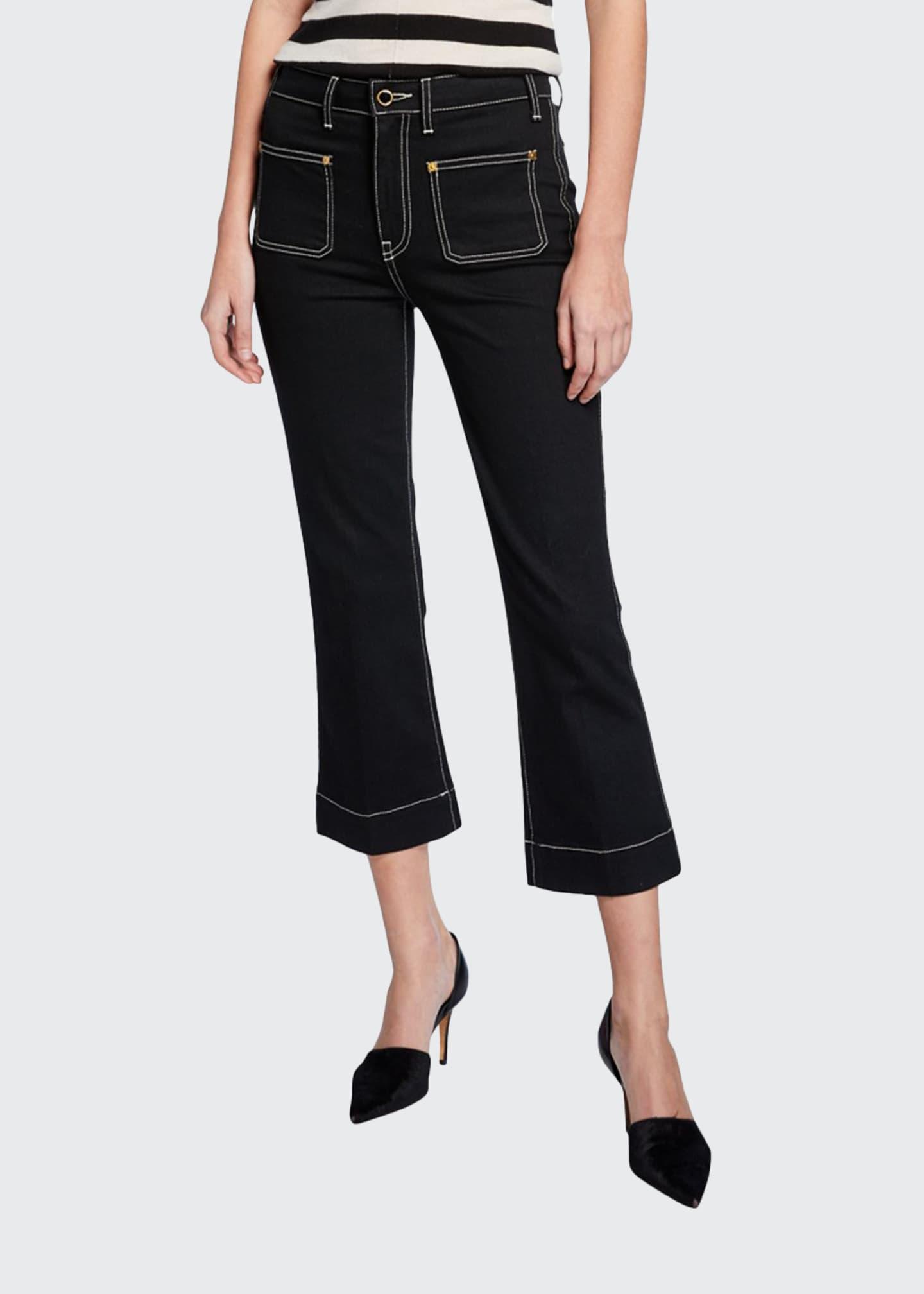 Khaite Raquel Patch-Pocket Cropped Flare Jeans, Black