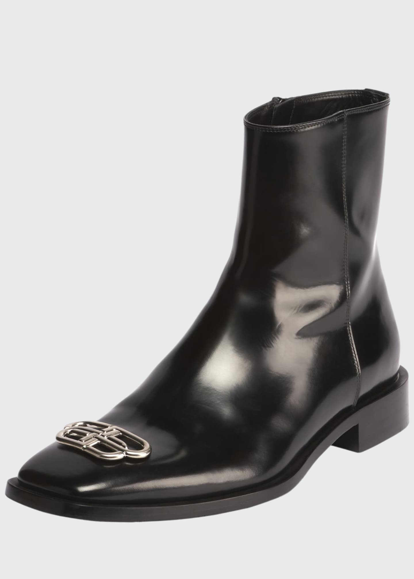 Balenciaga Men's Rim BB-Logo Leather Booties