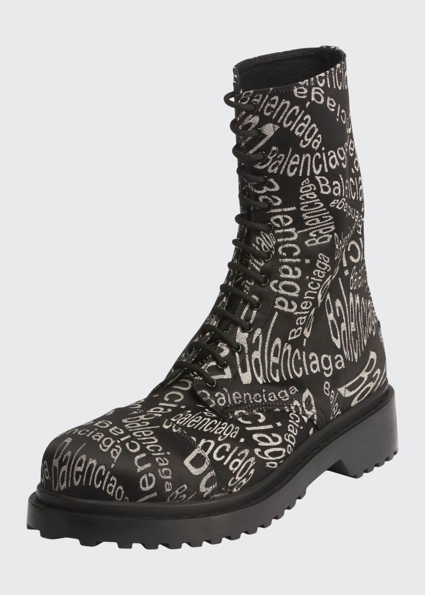 Balenciaga Men's Logo-Print Canvas Combat Boots