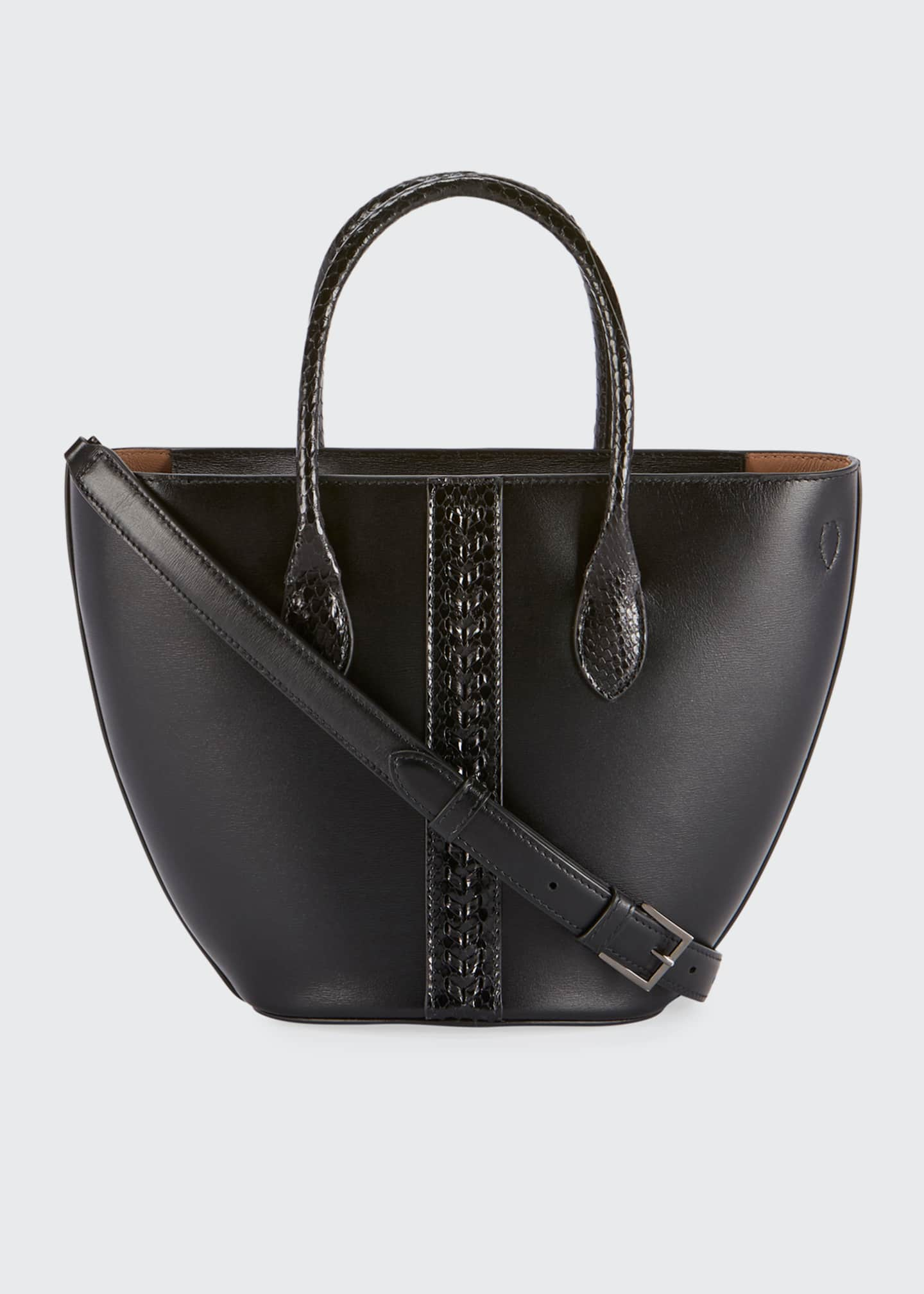 ALAIA Latifa Mini Cuir Lux Tote Bag, Noir