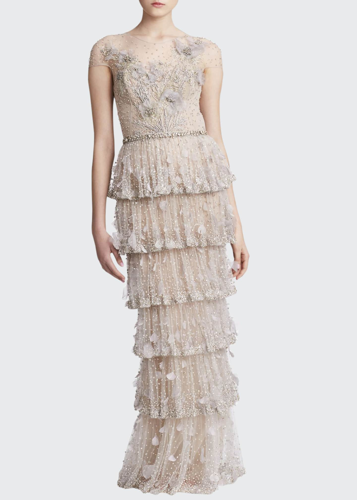 Marchesa Organza-Petal Tulle Gown