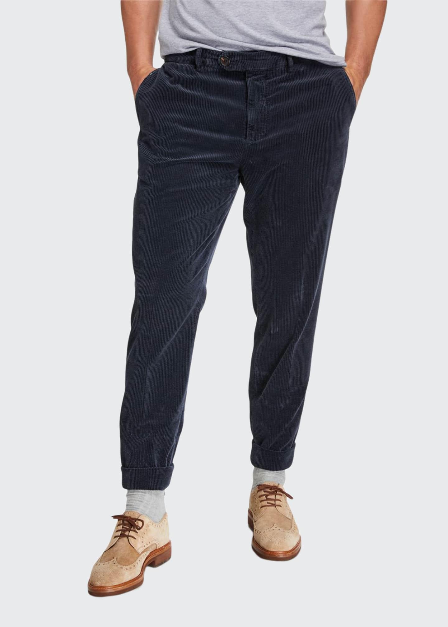 Brunello Cucinelli Men's Flat-Front Corduroy Trouser Pants