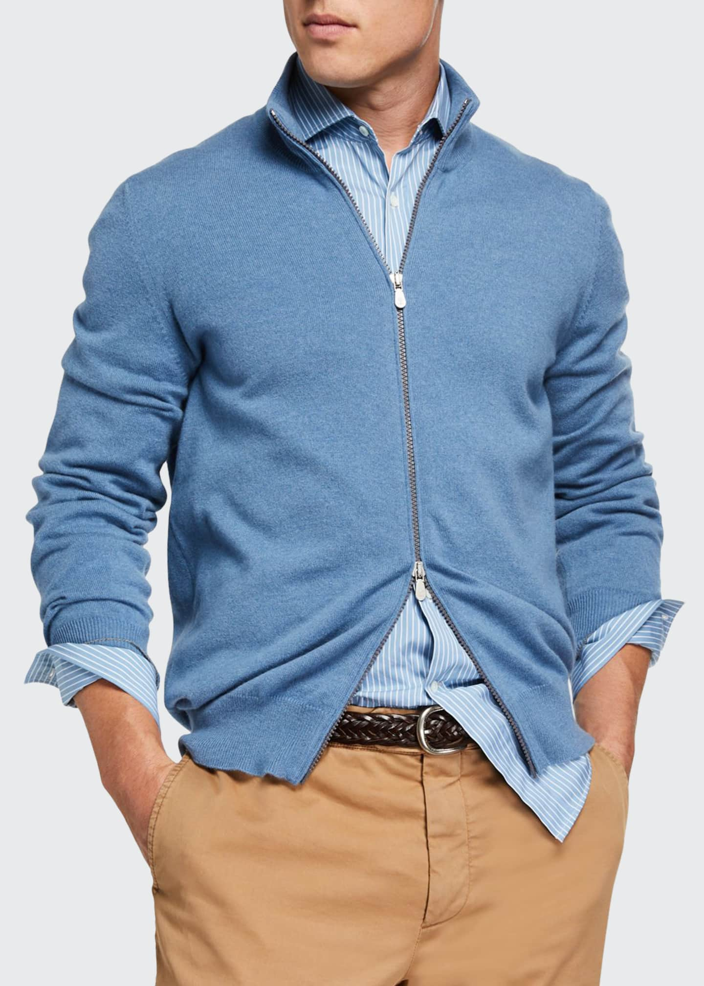Men's Cashmere Zip-Front Sweater