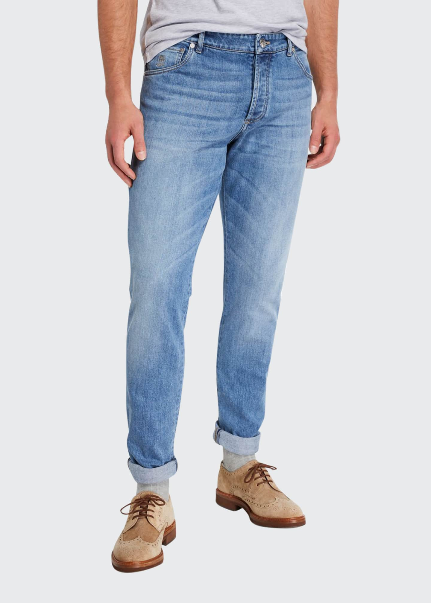 Brunello Cucinelli Men's Medium-Wash Slim-Fit Denim Jeans