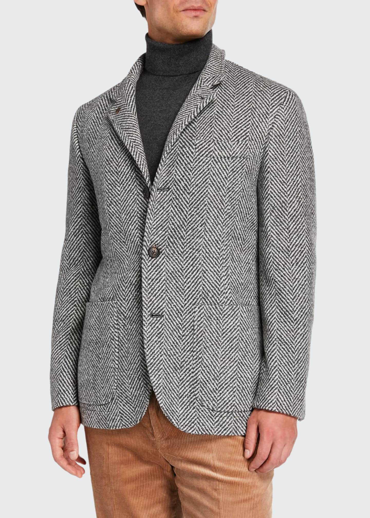 Brunello Cucinelli Men's Chevron Three-Button Jacket