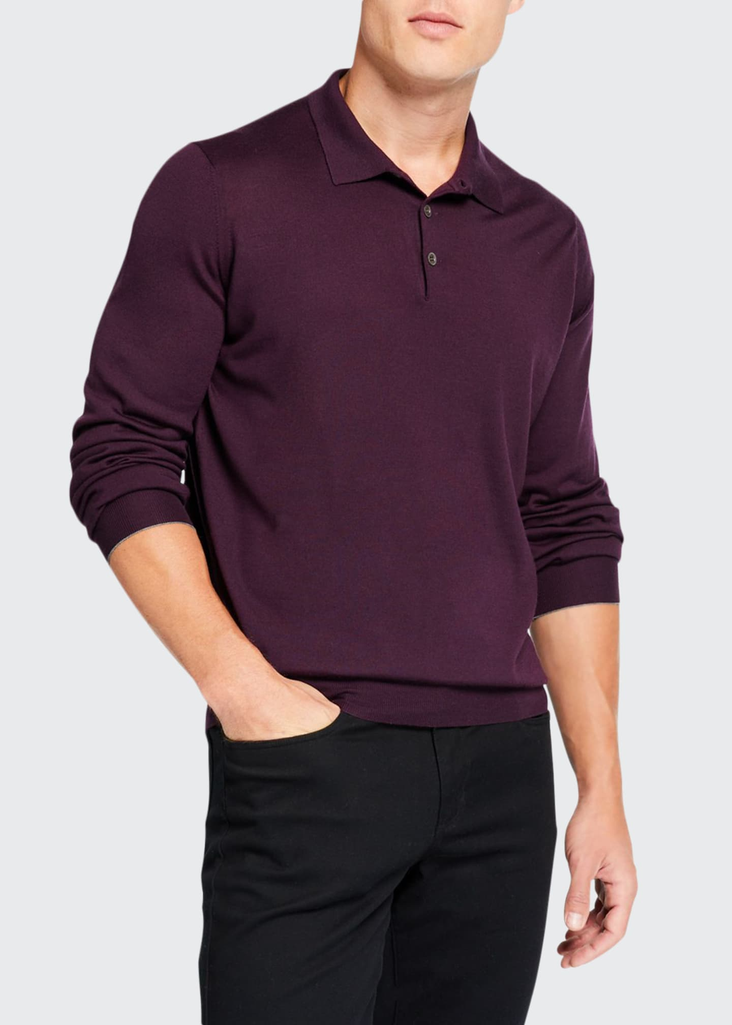 Brunello Cucinelli Men's Solid Wool-Cashmere Polo Sweater