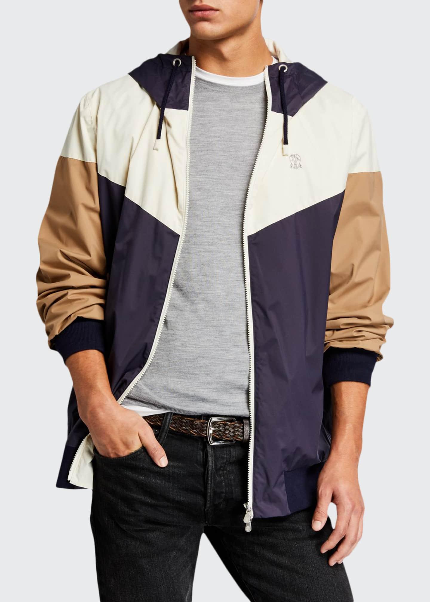 Brunello Cucinelli Men's Spa Colorblock Nylon Wind Jacket
