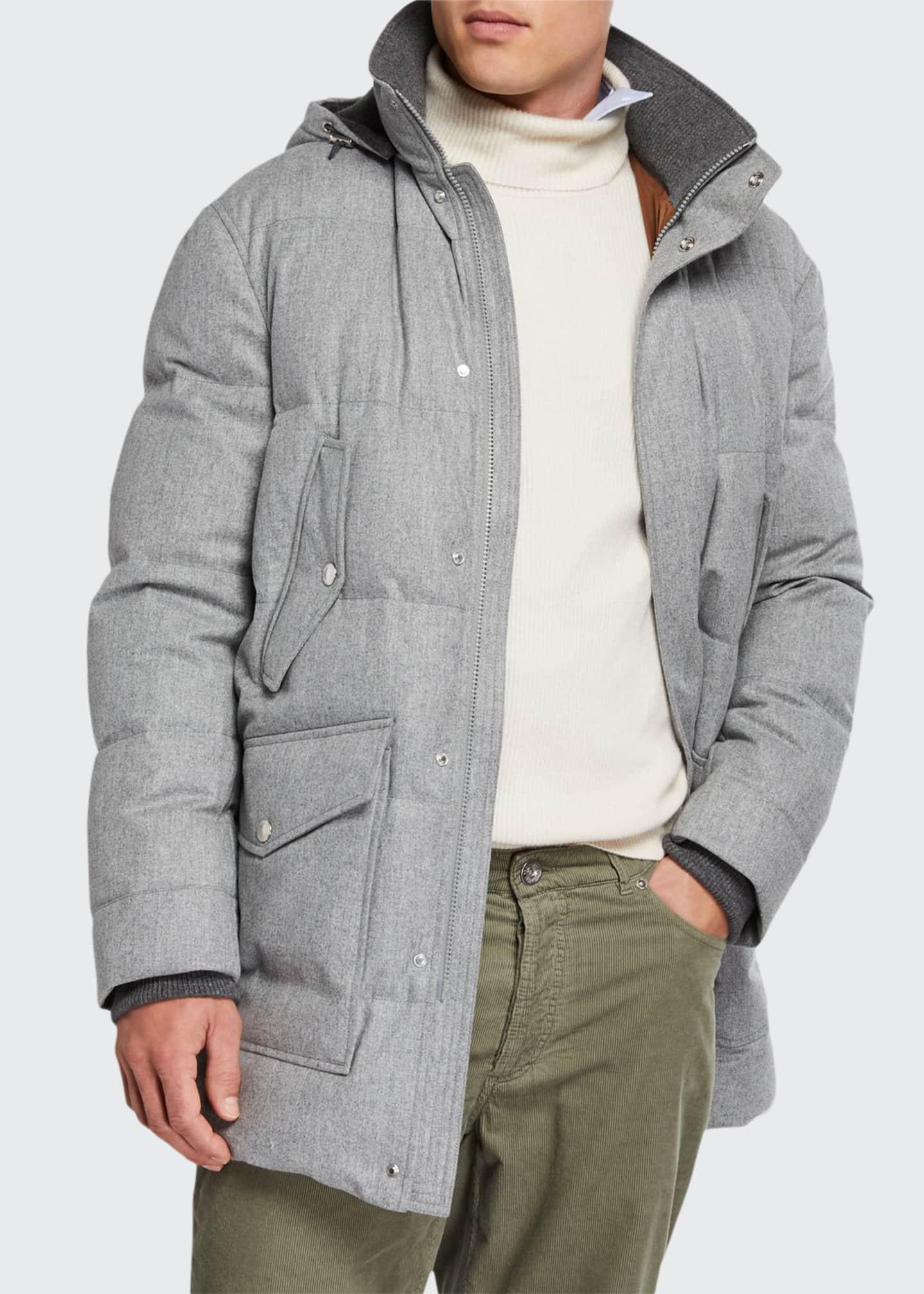 Brunello Cucinelli Men's Flannel Hooded Parka