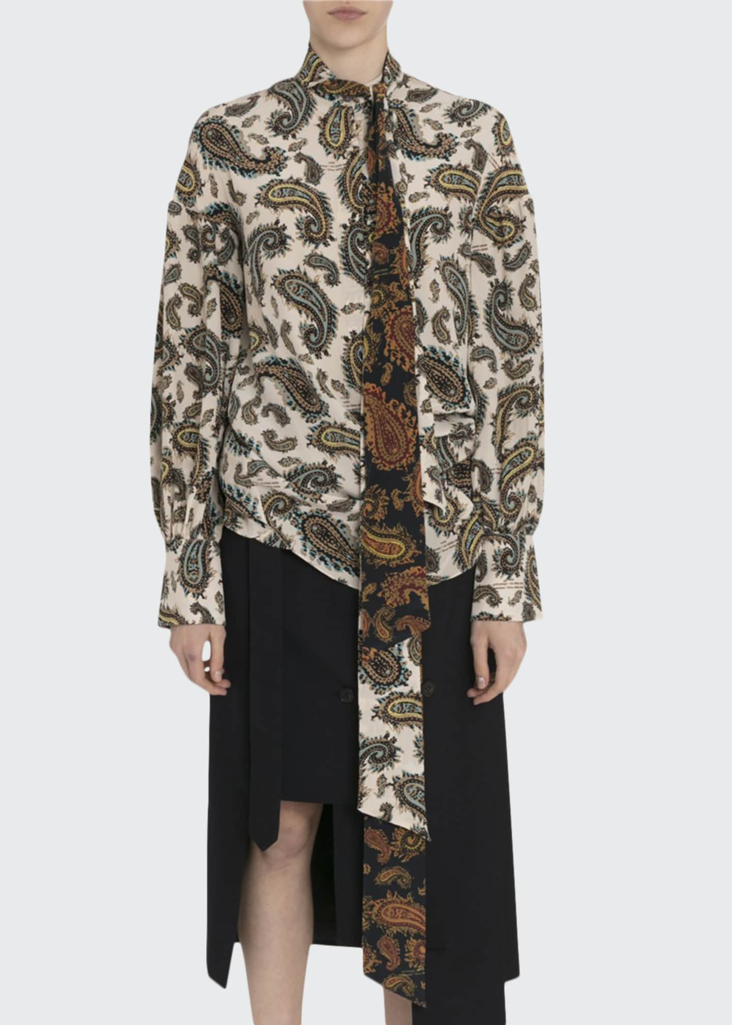 Image 1 of 3: Paisley Silk Tie-Neck Blouse
