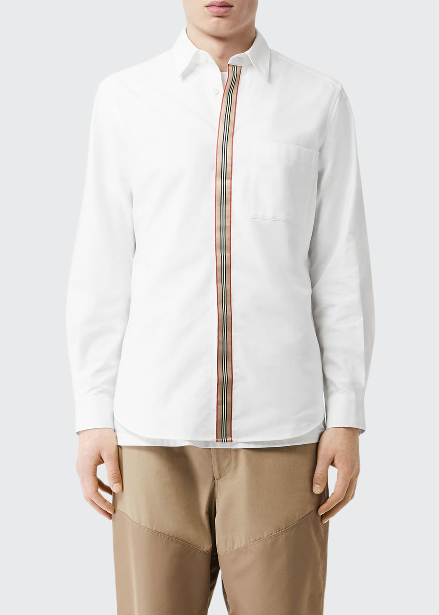 Burberry Men's Icon Stripe Tape Concealed-Placket Oxford Shirt