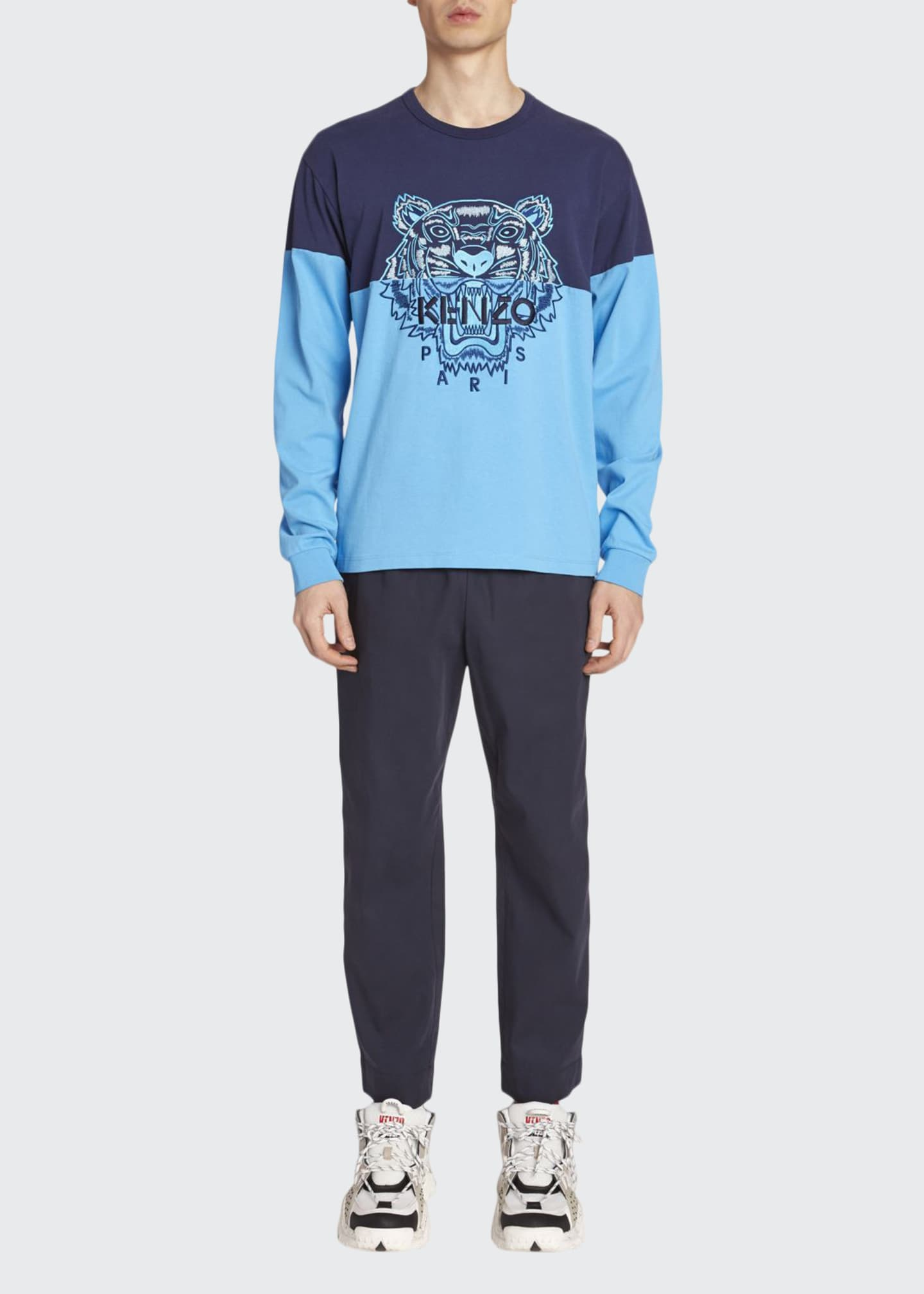 Kenzo Men's Colorblock Tiger Long-Sleeve T-Shirt