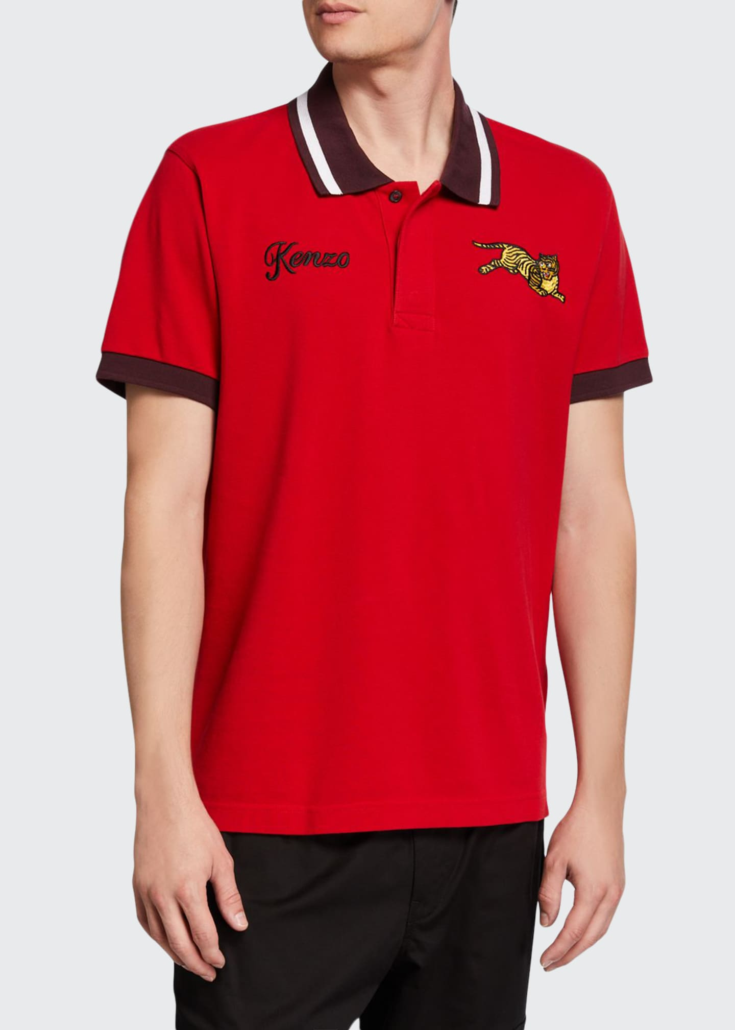 Kenzo Men's Jumping Tiger Polo Shirt with Contrast