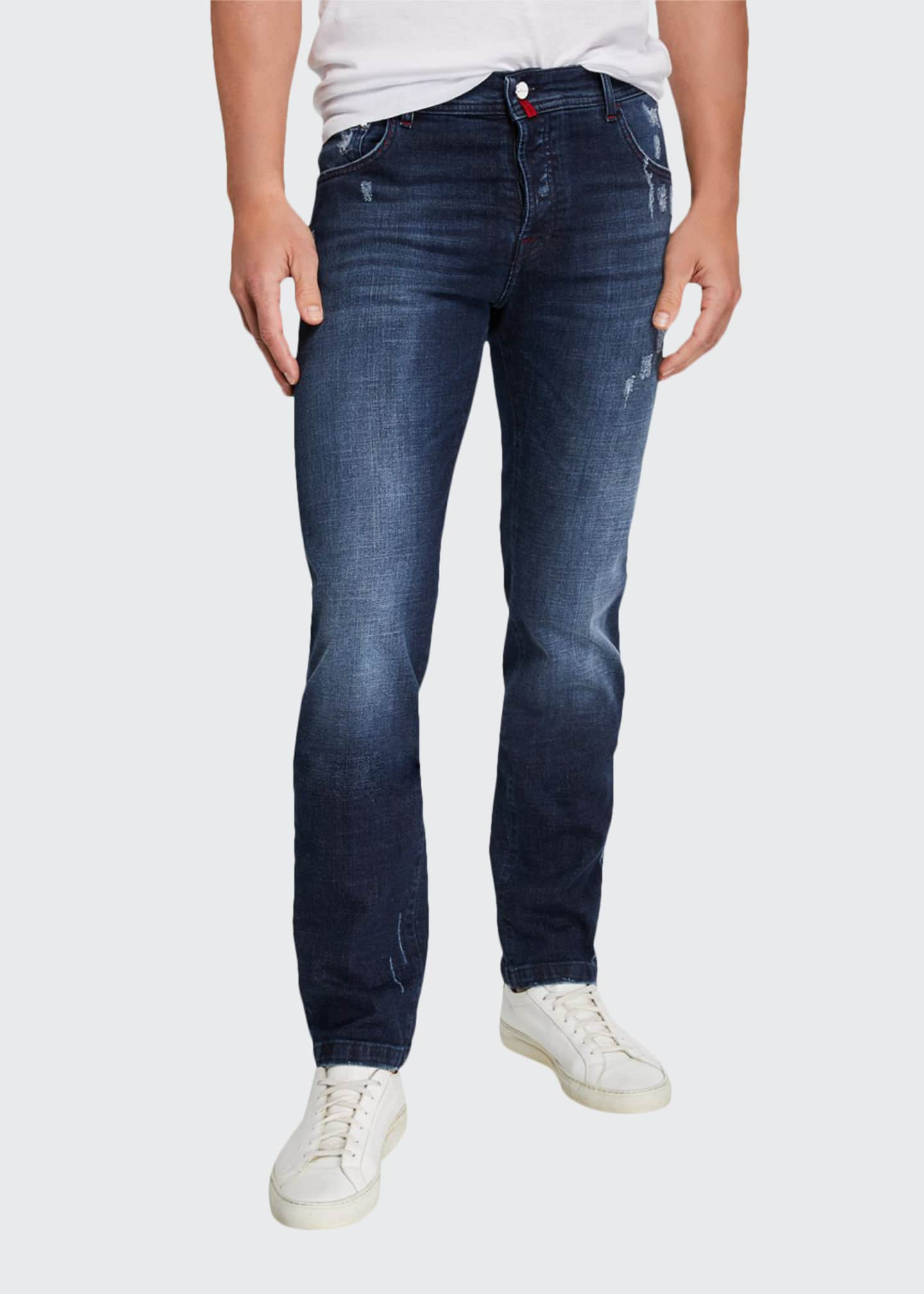 Image 1 of 3: Men's Distressed Overstitch Jeans