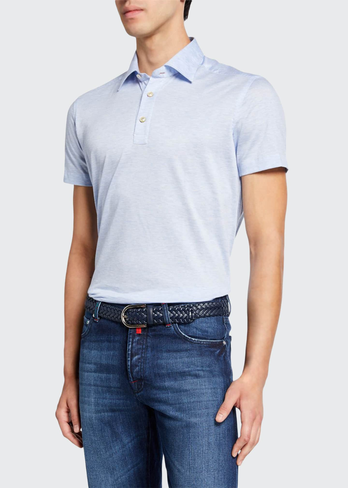 Image 1 of 2: Men's Jersey Cotton Polo Shirt, Light Blue