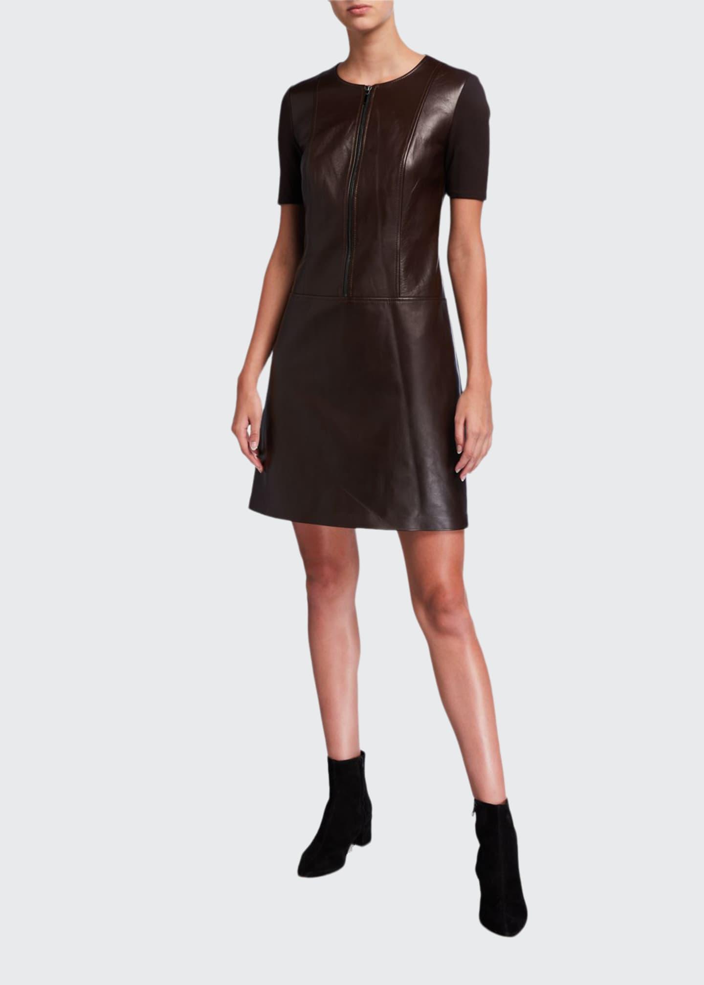 Elie Tahari Buffy Zip-Front Short-Sleeve Leather & Ponte