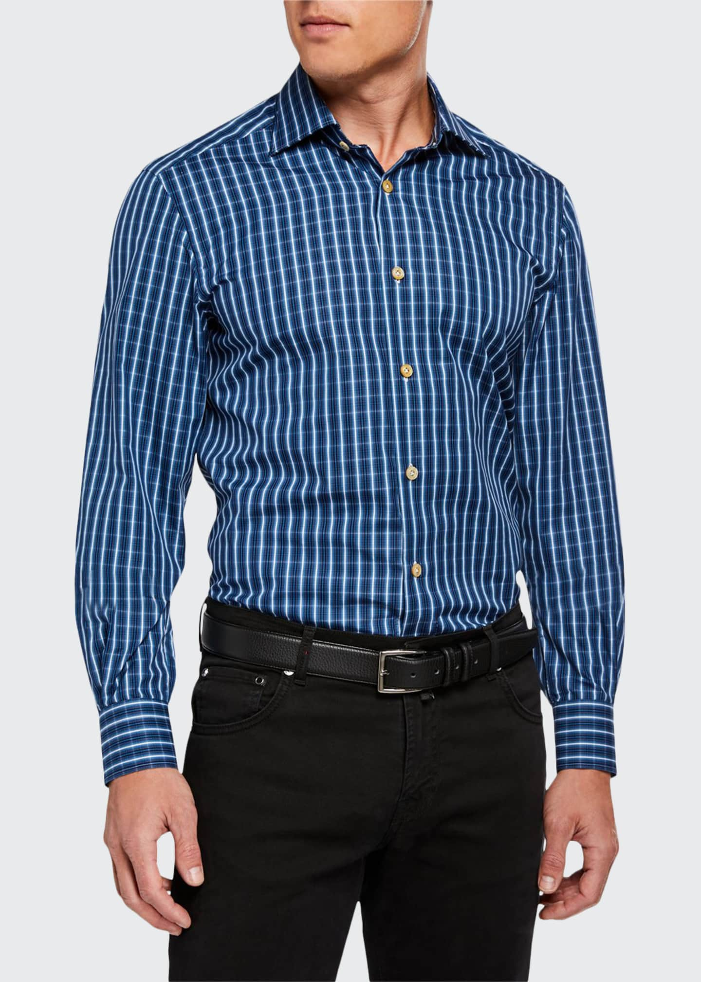 Image 1 of 3: Men's Long-Sleeve Check Sport Shirt