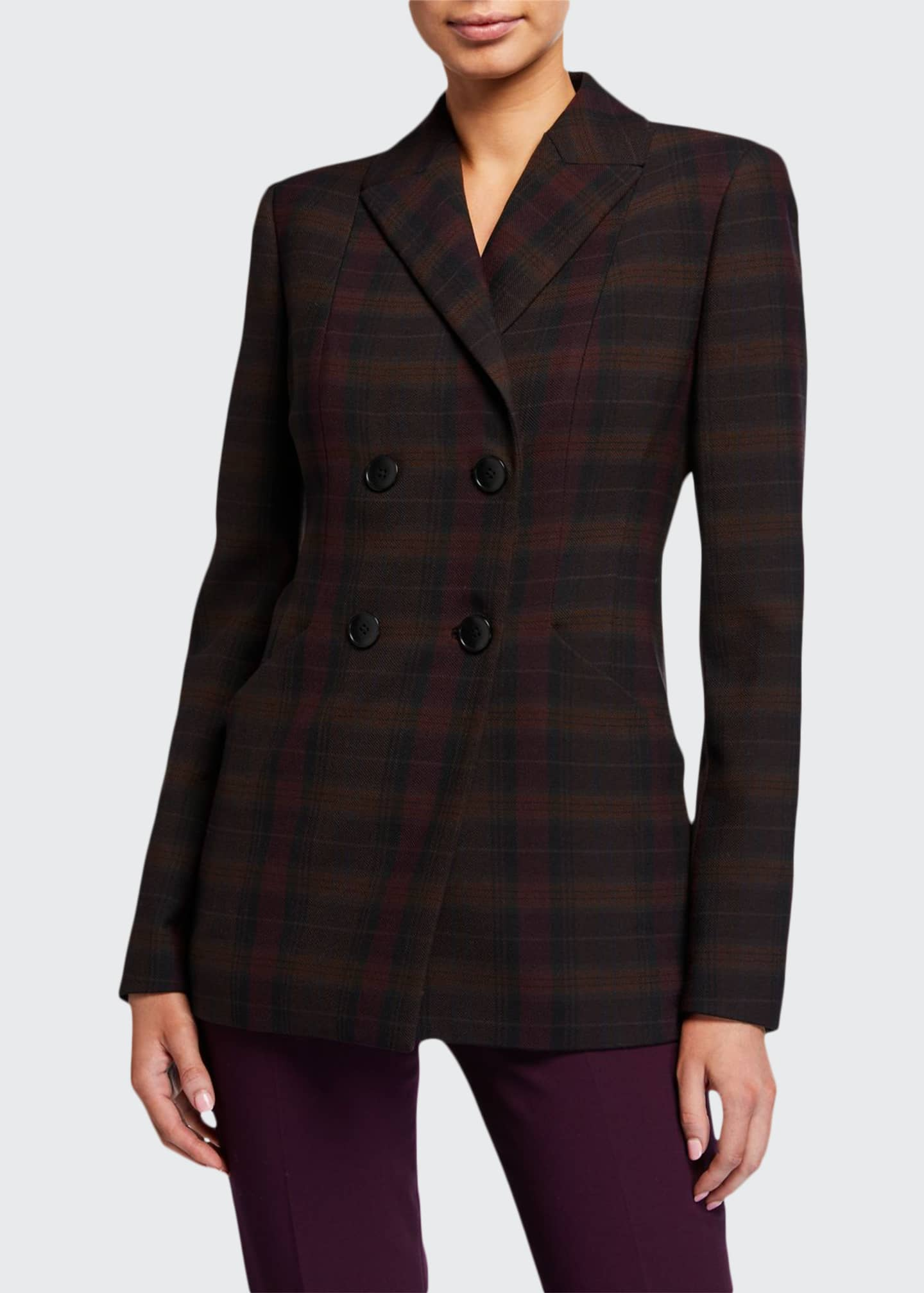 Elie Tahari Launie Plaid Double-Breasted Jacket