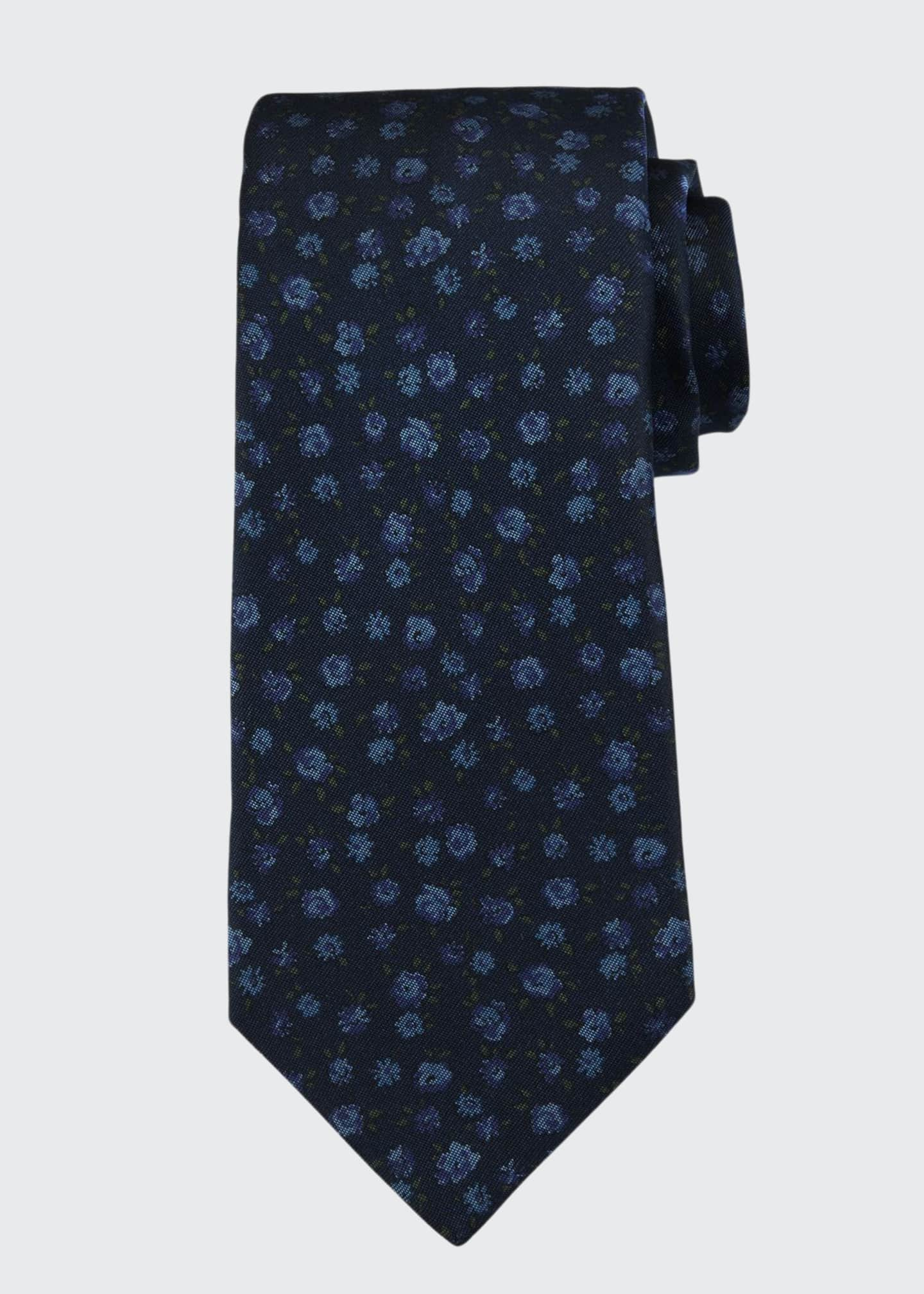 Men's Mini Floral Silk Tie
