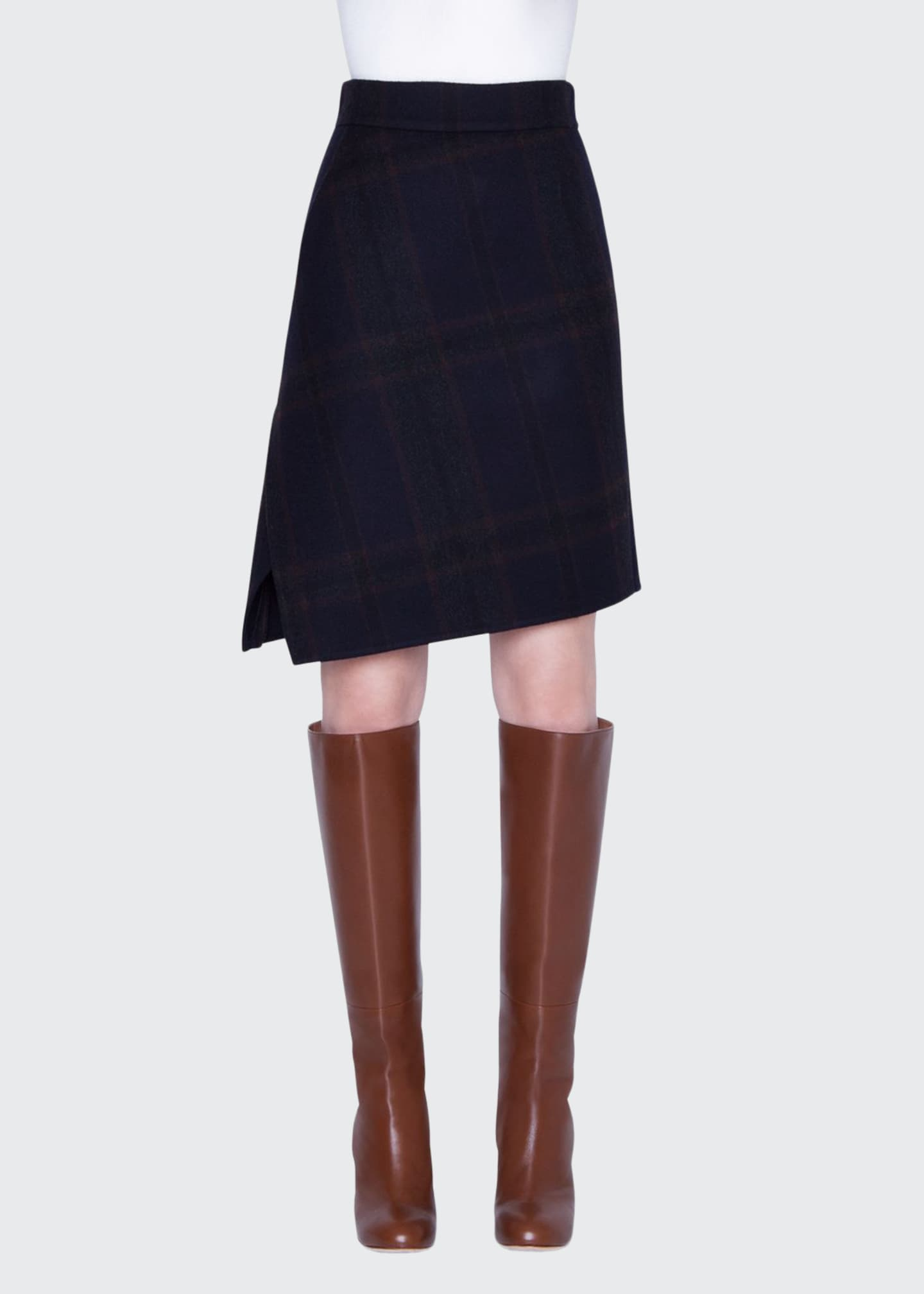 Image 1 of 3: Cashmere Plaid Double-Face Skirt