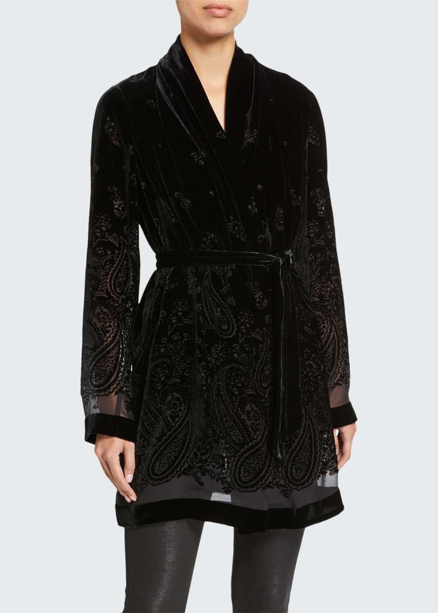 Elie Tahari Coley Paisley Burnout Velvet Jacket