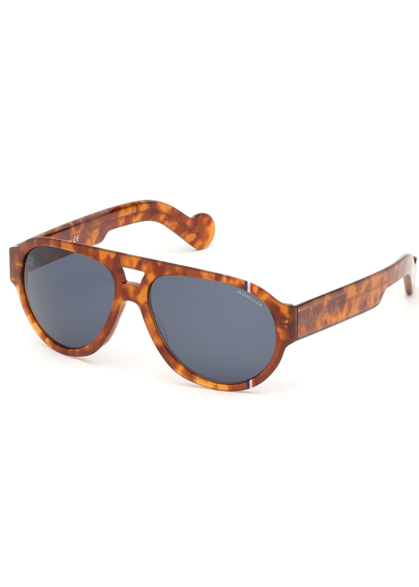 Moncler Tricolor Aviator Acetate Sunglasses