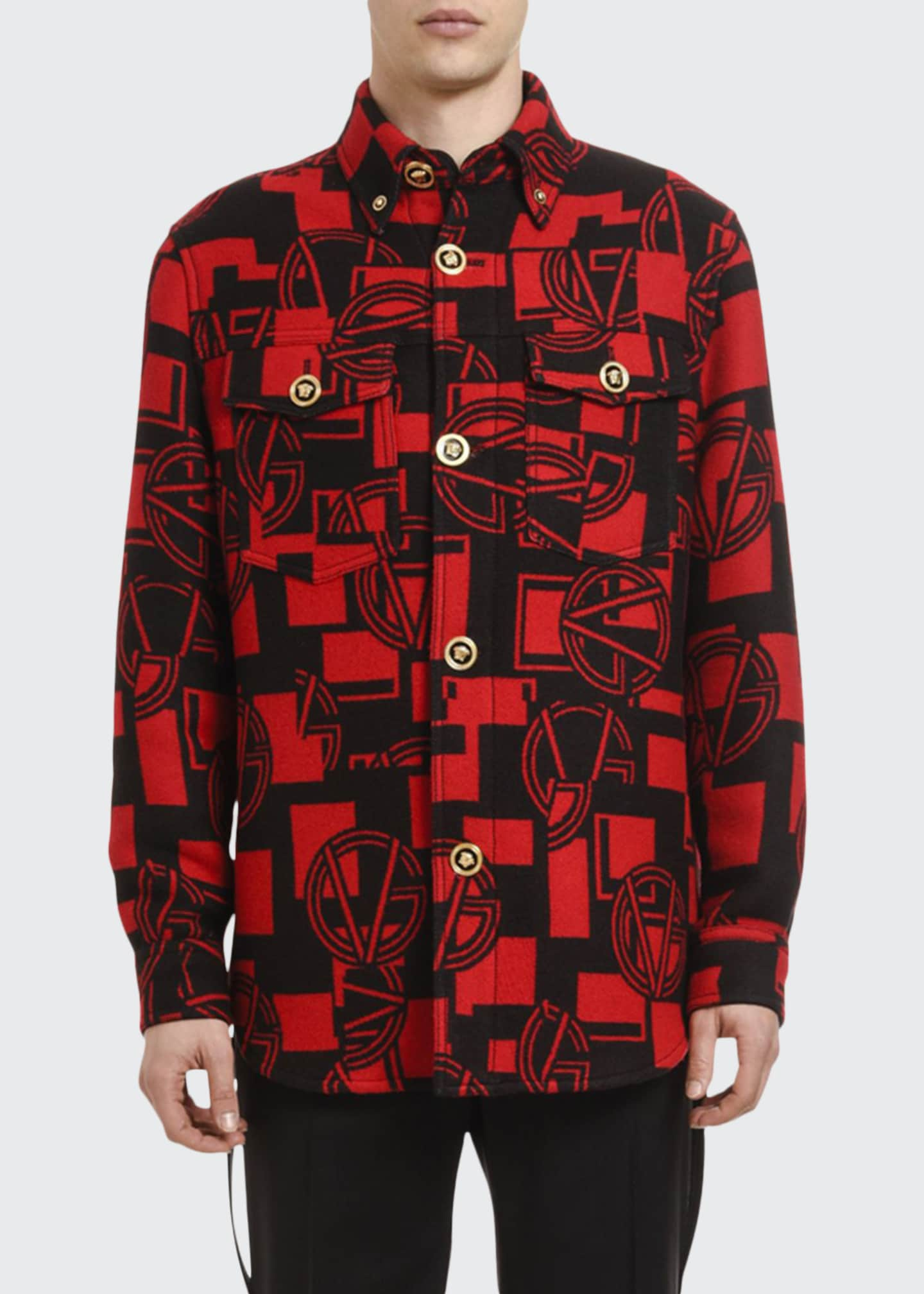 Image 1 of 3: Men's GV Logo Medusa-Button Shirt Jacket