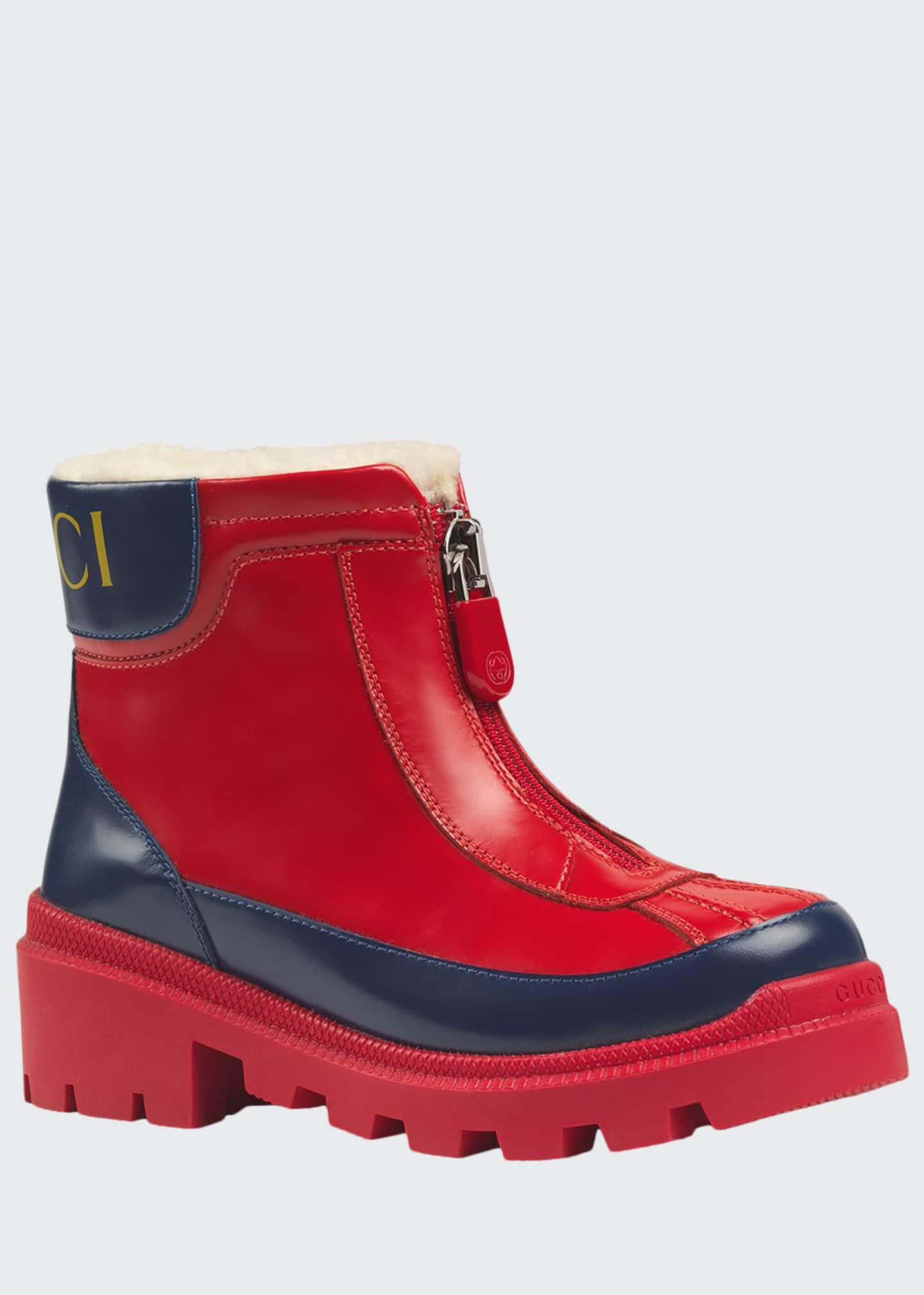 Gucci Leather Zip Front Boots, Toddler/Kids