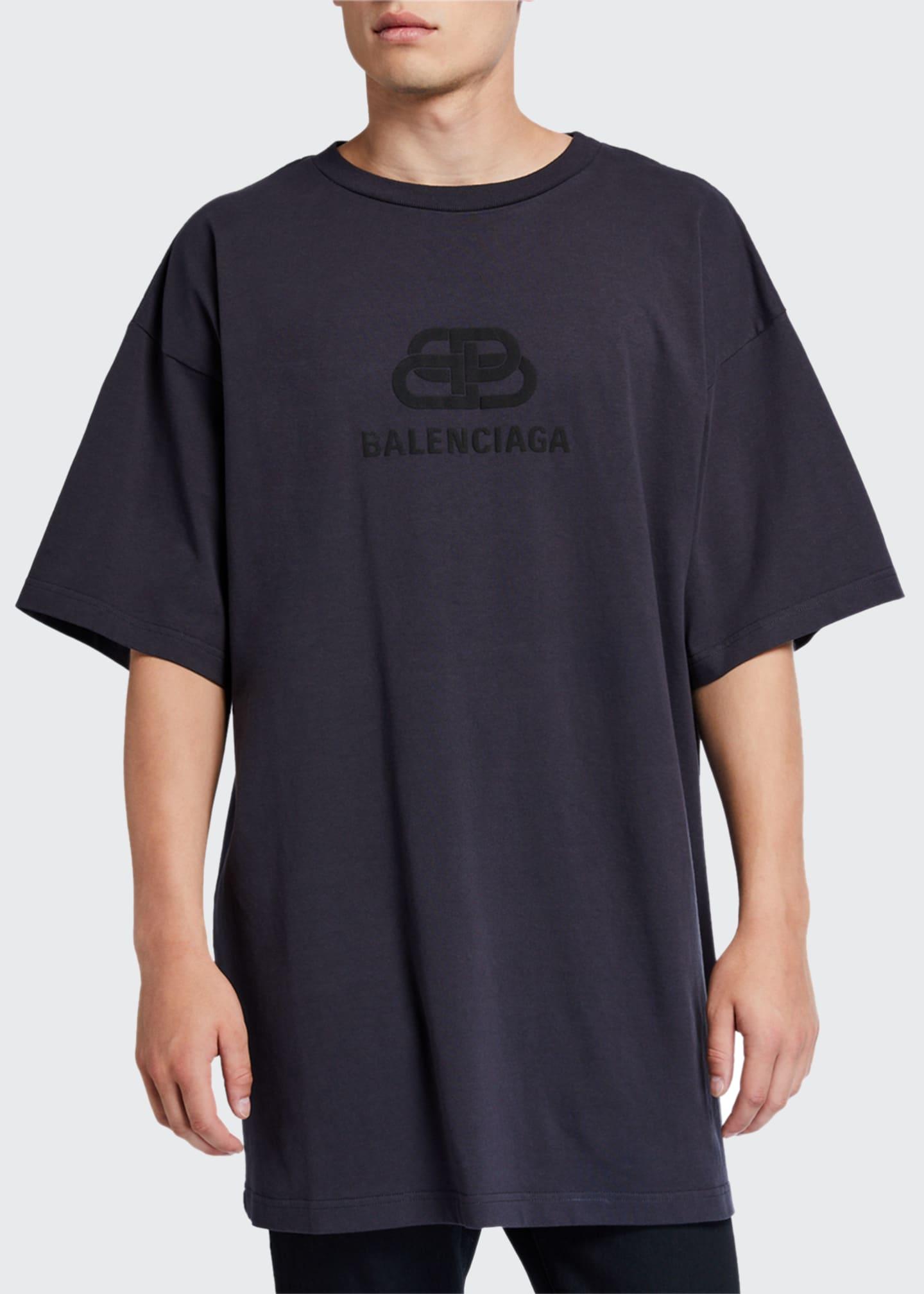 Balenciaga Men's Oversized Washed BB Logo T-Shirt