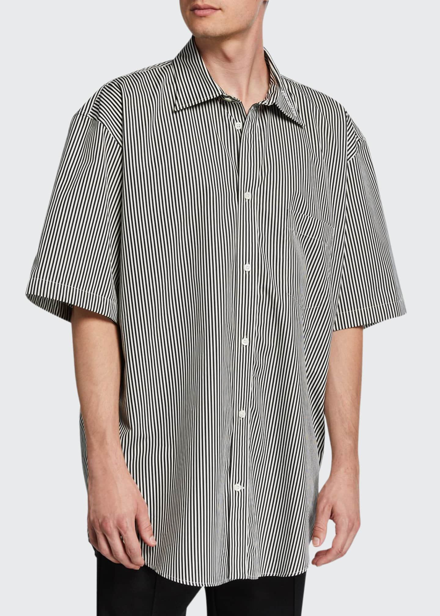 Balenciaga Men's Oversized Bengal Stripe Sport Shirt