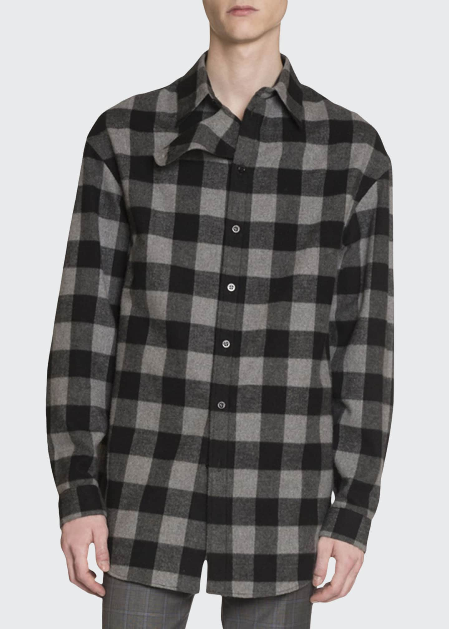Balenciaga Men's Buffalo Check Flannel Oversized Shirt
