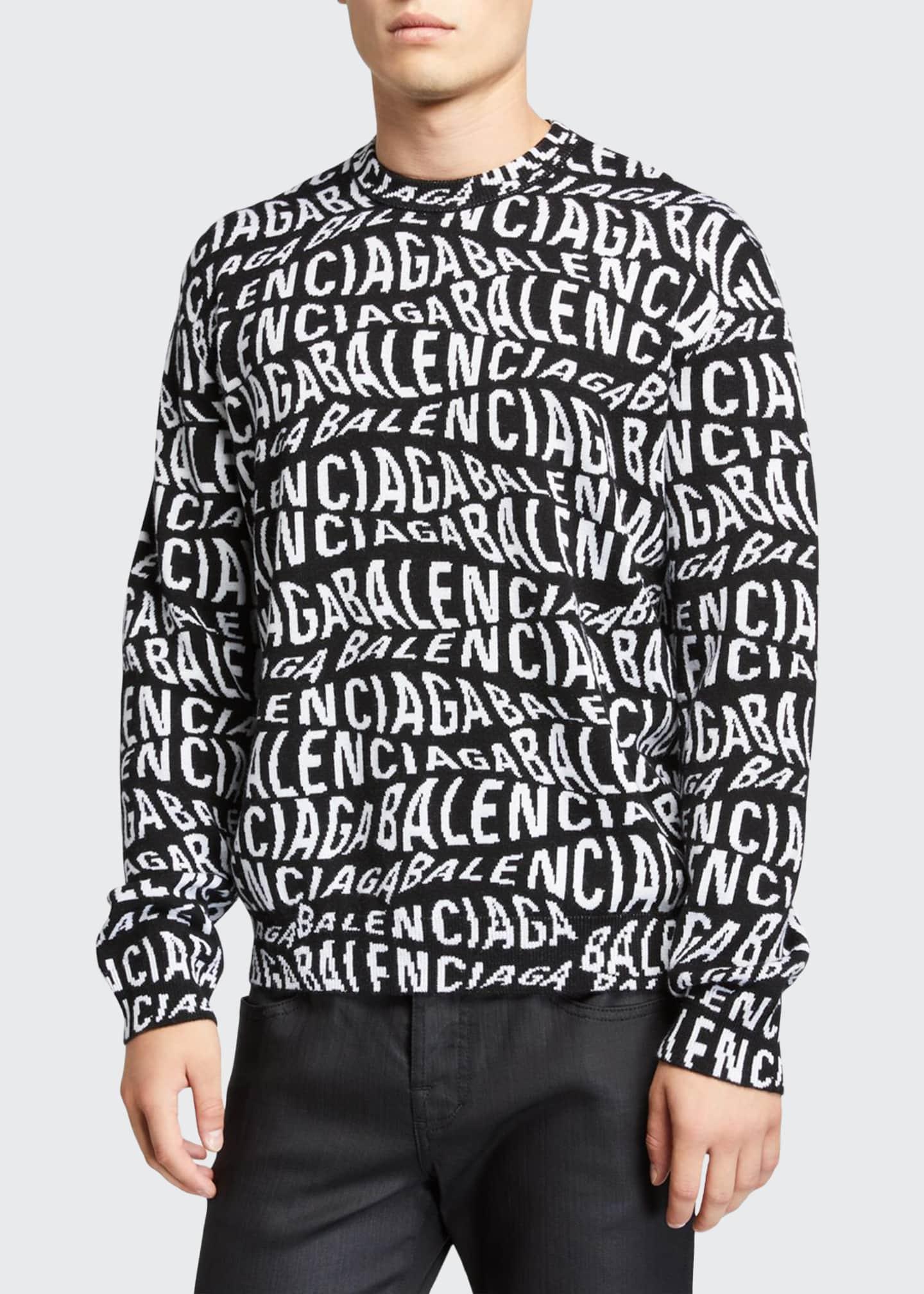 Balenciaga Men's Oversized Wave-Logo Crewneck Sweater