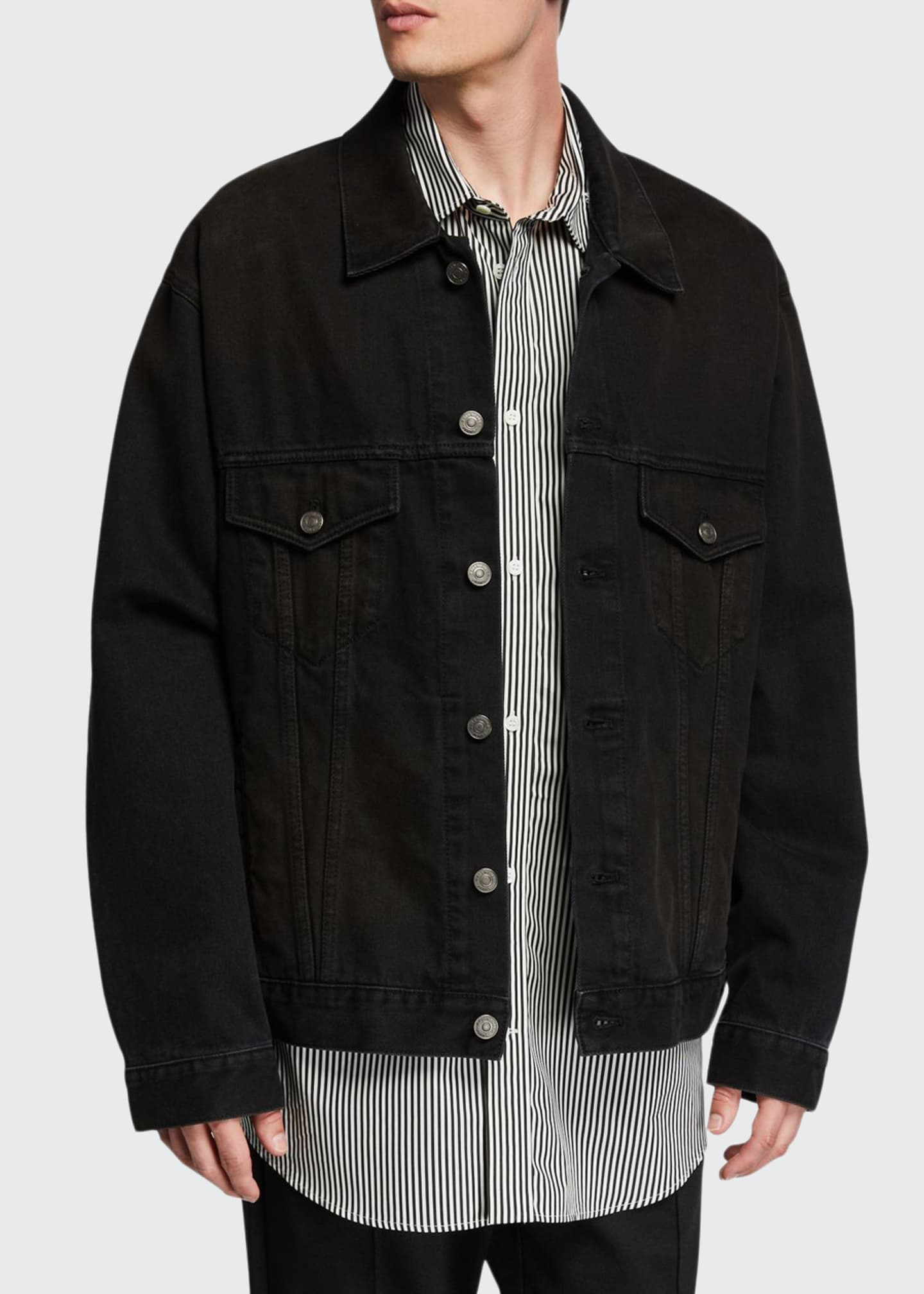 Balenciaga Men's Oversized Washed Denim Jacket with Lipstick