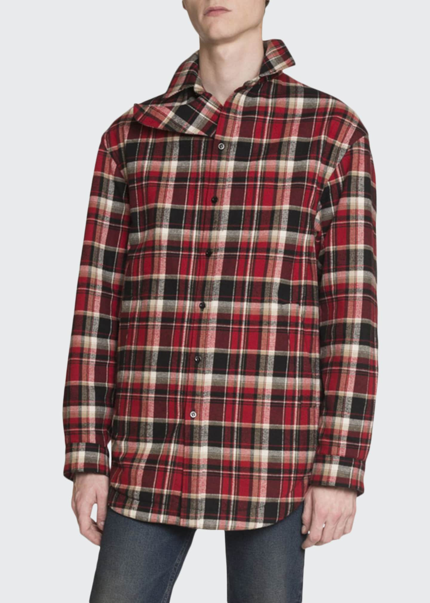 Balenciaga Men's Lightly Padded Plaid Shirt Jacket