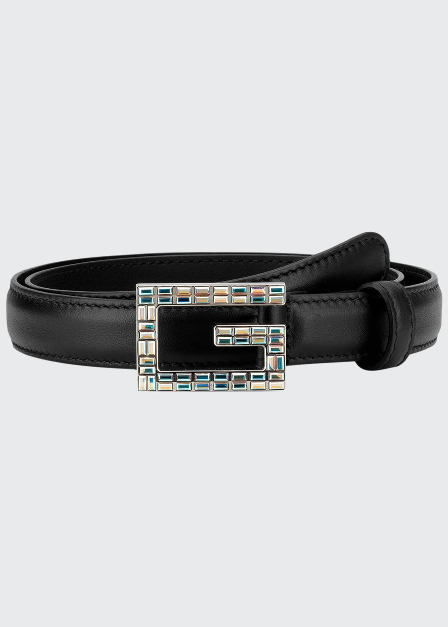 Gucci Madelyn Leather Belt w/ Square Crystal Trim