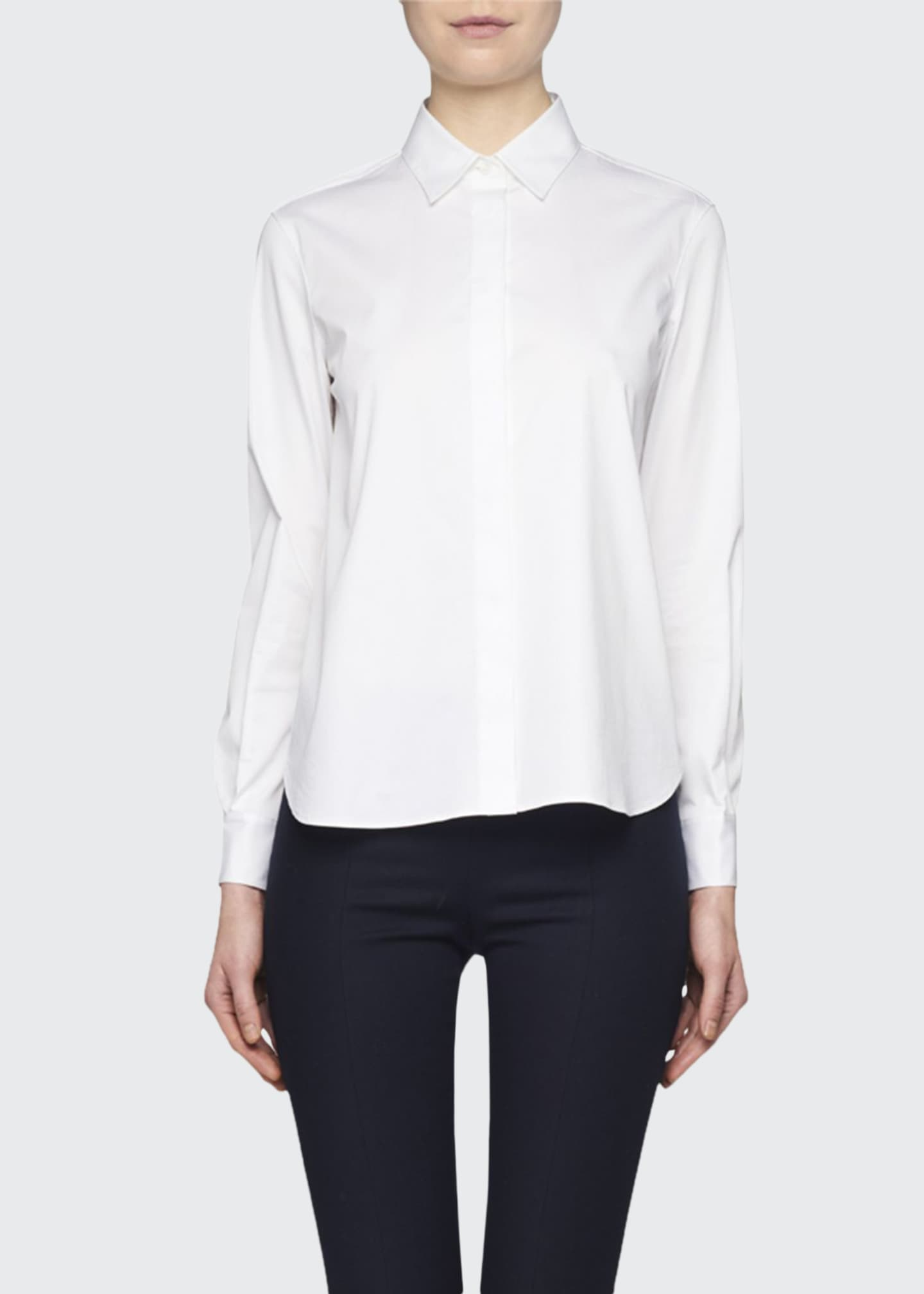 Image 1 of 2: Yssetra Slim Button-Front Cotton Shirt