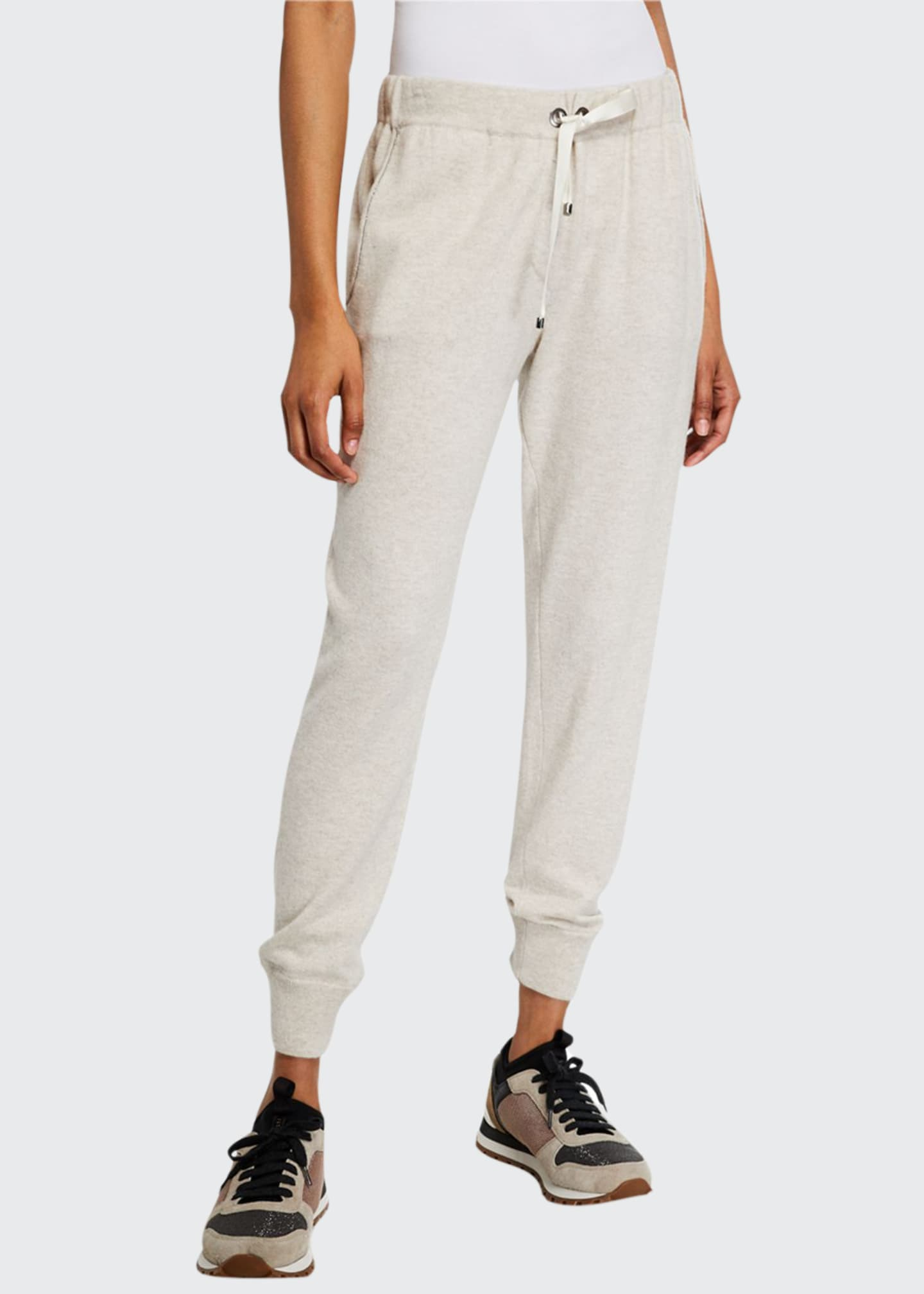 Brunello Cucinelli Cashmere Monili-Beaded Jogger Pants
