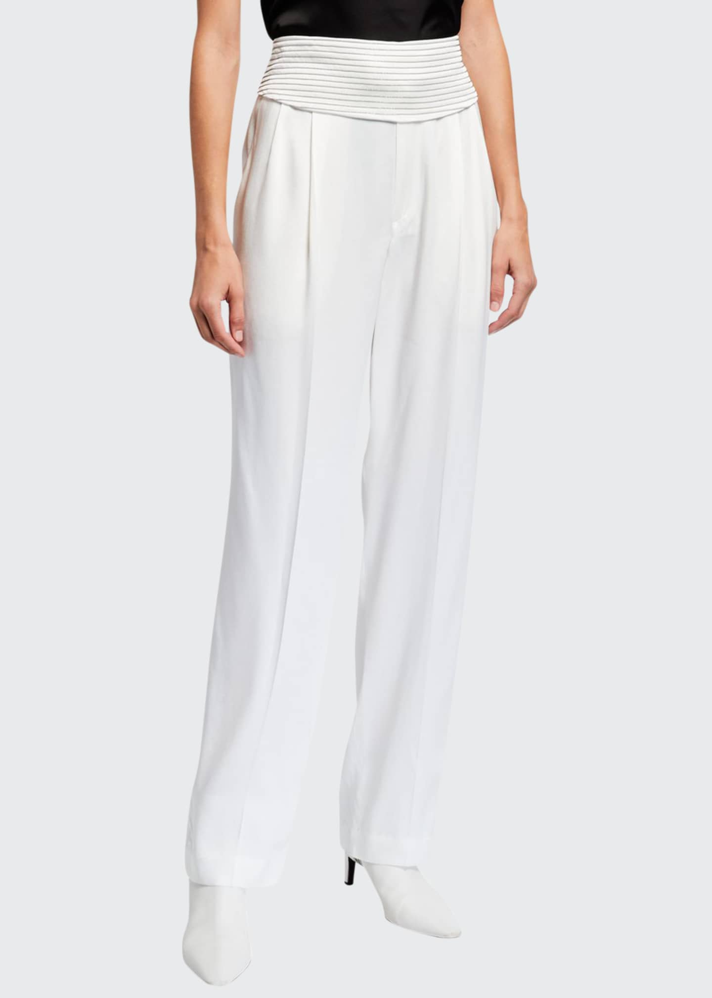 Brunello Cucinelli Pleated Silk Pants with Monili-Striped Belt