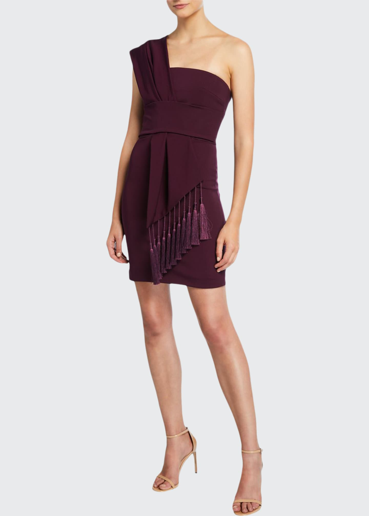 CUSHNIE One-Shoulder Scarf-Neck Mini Dress w/ Tassels