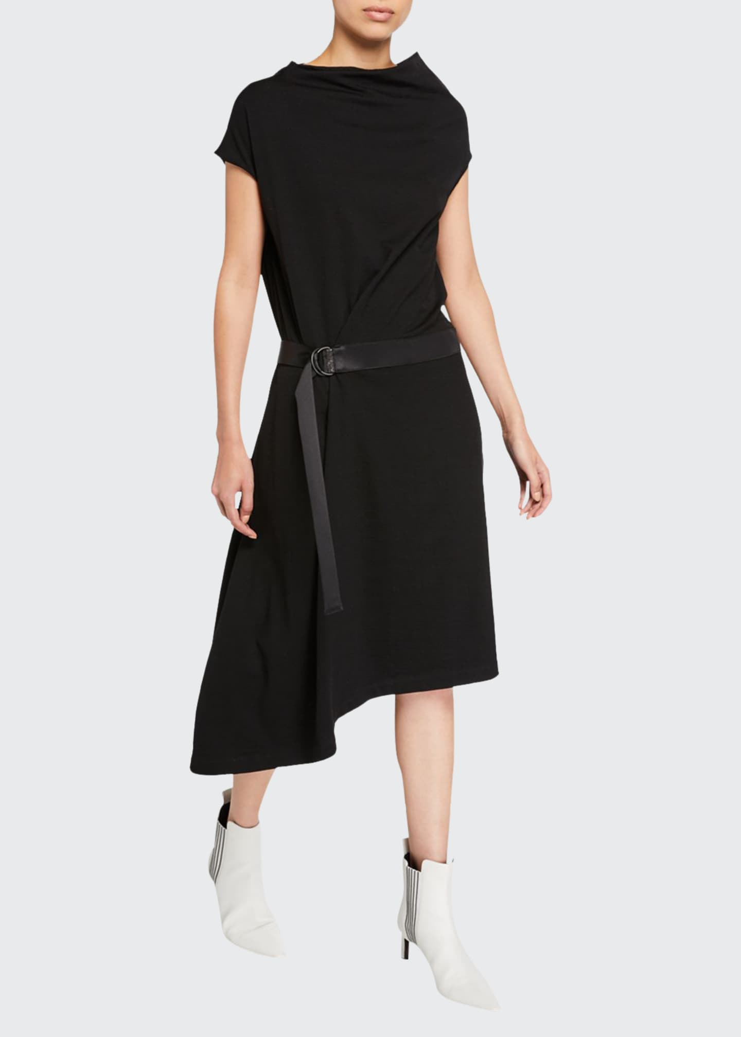 Brunello Cucinelli Cowl-Neck Crepe Asymmetric Dress