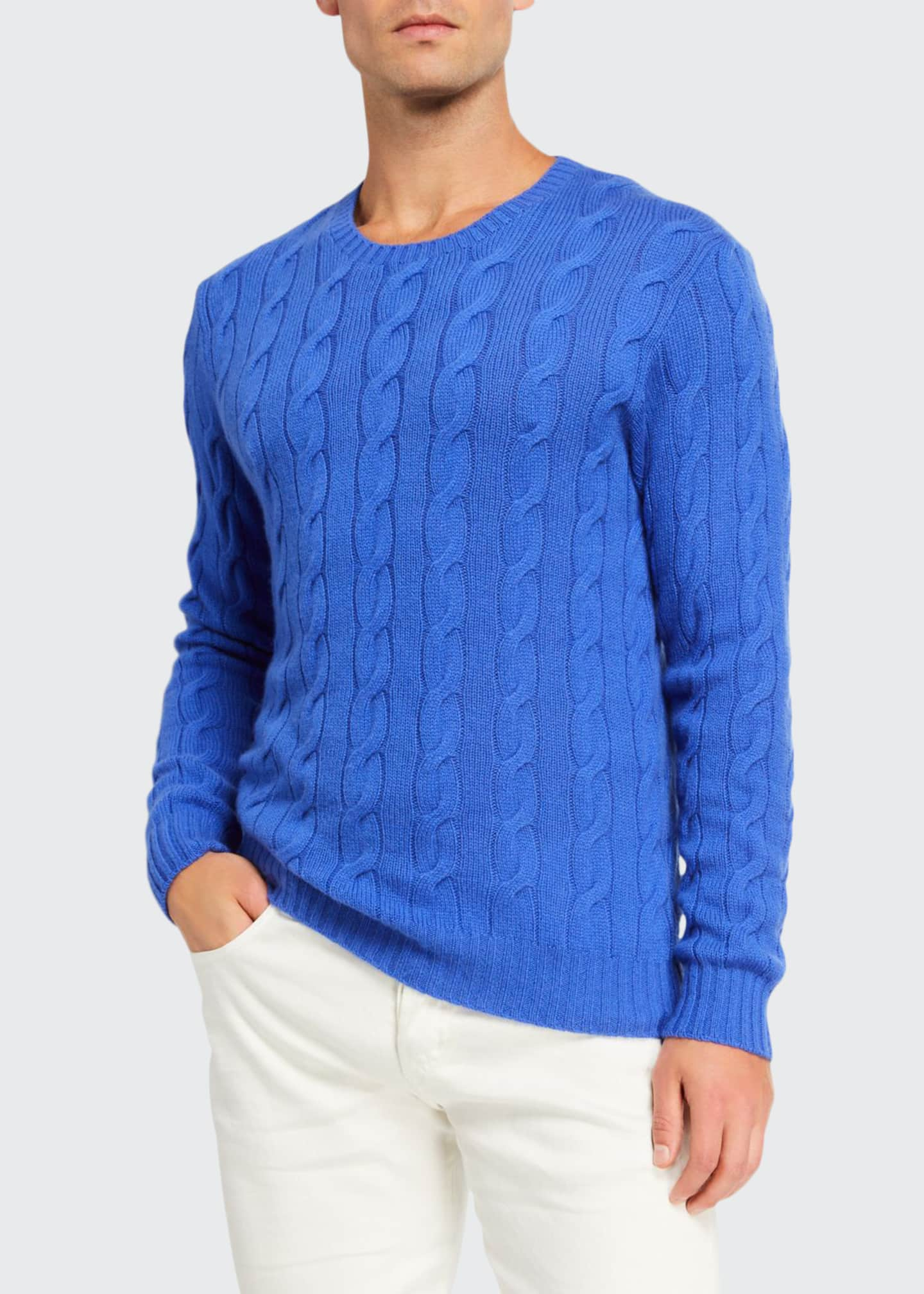 Image 1 of 2: Cashmere Cable-Knit Crewneck Sweater, Blue