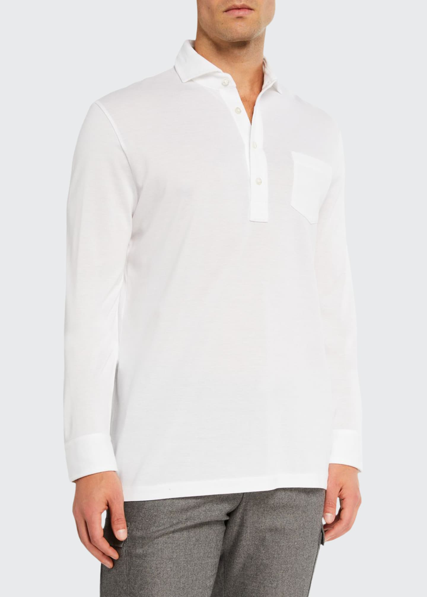 Image 1 of 2: Men's Washed Long-Sleeve Pocket Polo Shirt, White
