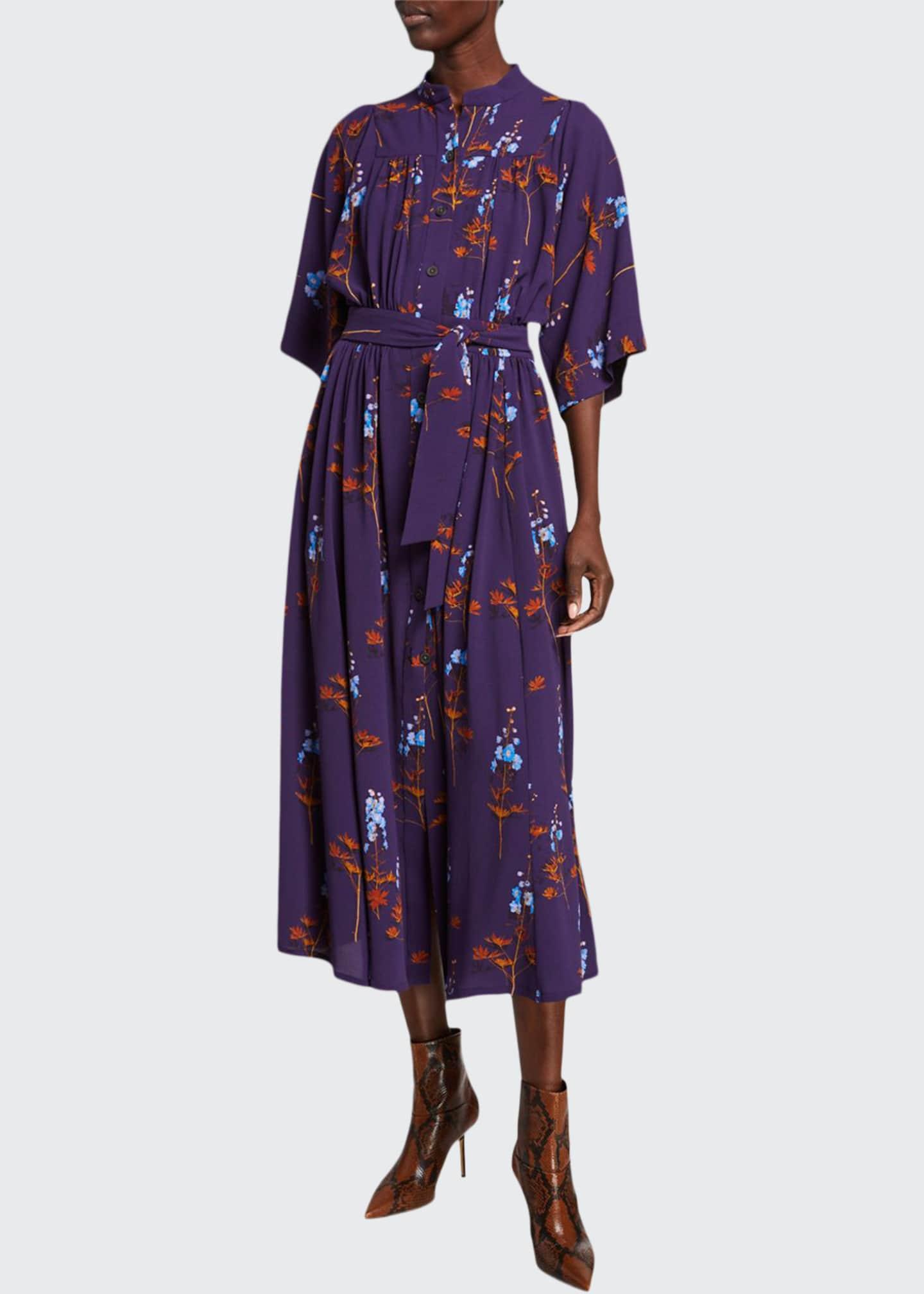 Dries Van Noten Floral Print Flutter-Sleeve Shirtdress