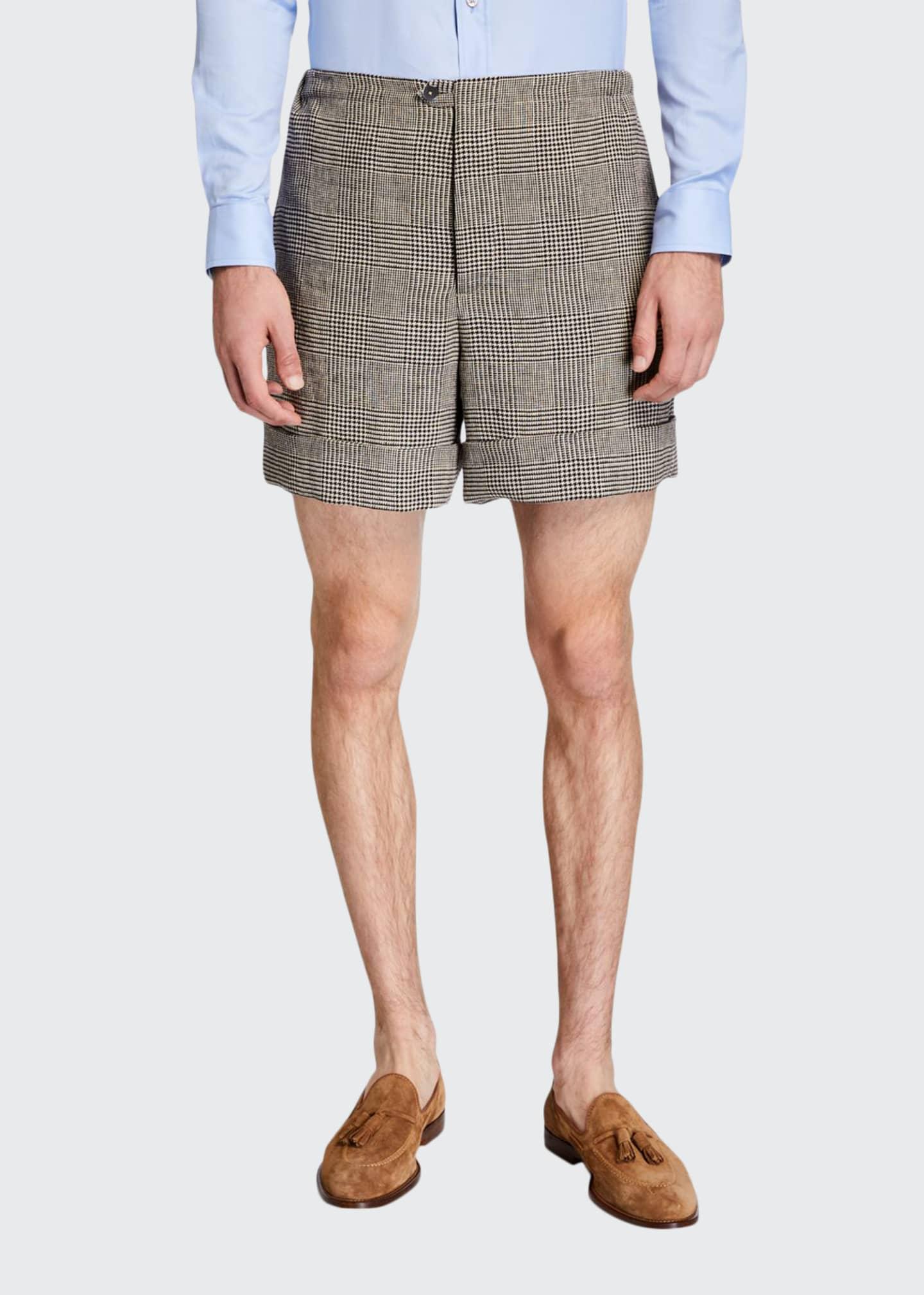Gucci Men's Glen Plaid Linen Shorts